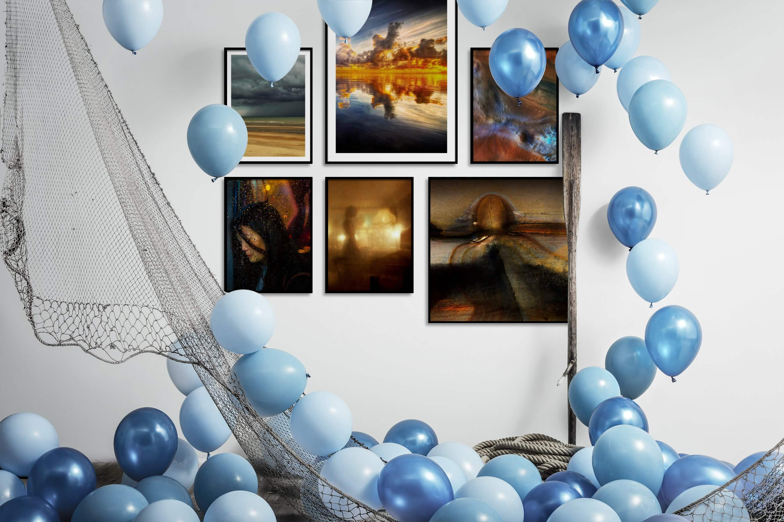 Gallery wall idea with six framed pictures arranged on a wall depicting Beach & Water, For the Moderate, Mindfulness, Fashion & Beauty, Artsy, and Nature