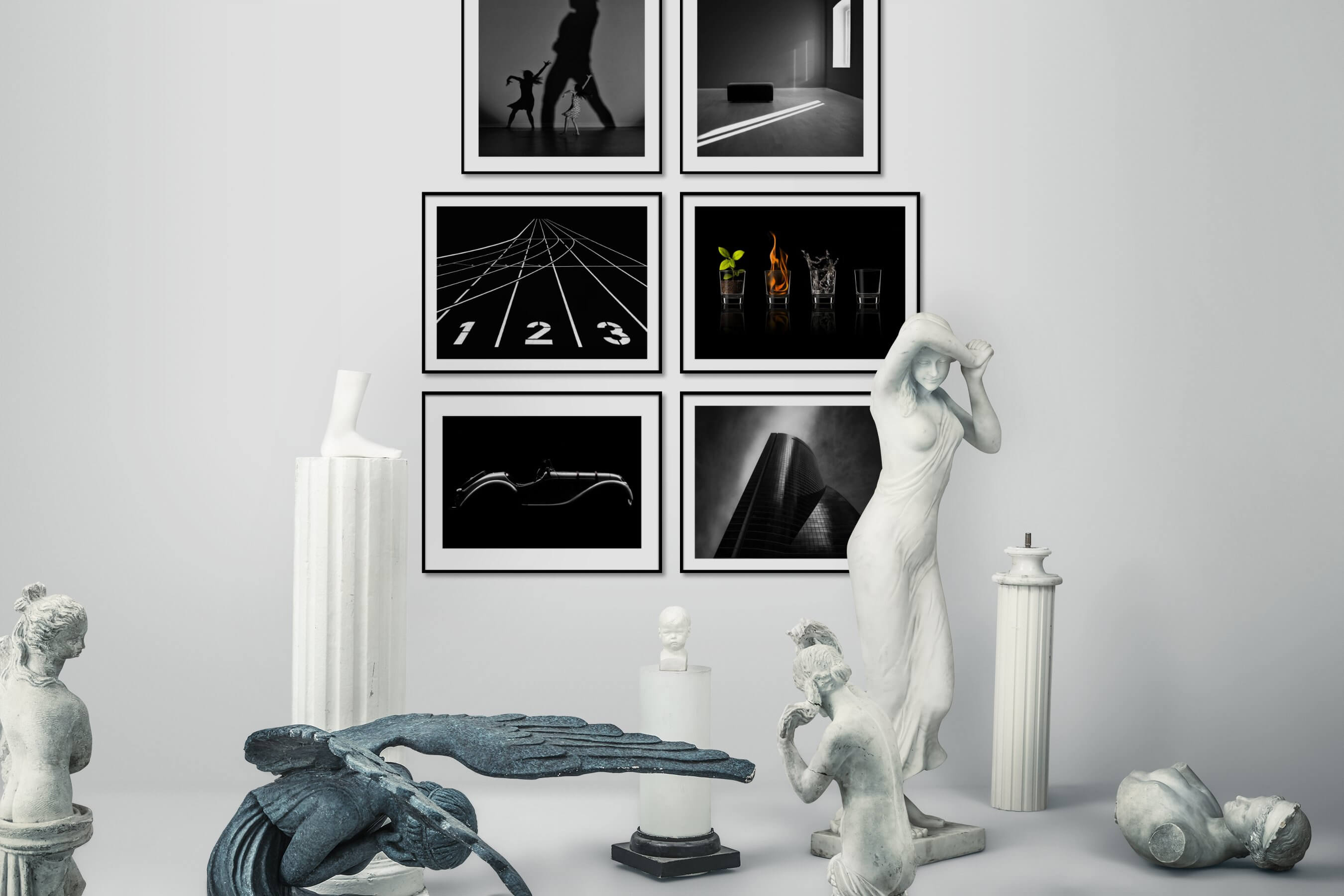 Gallery wall idea with six framed pictures arranged on a wall depicting Fashion & Beauty, Black & White, For the Minimalist, For the Moderate, Vintage, and City Life