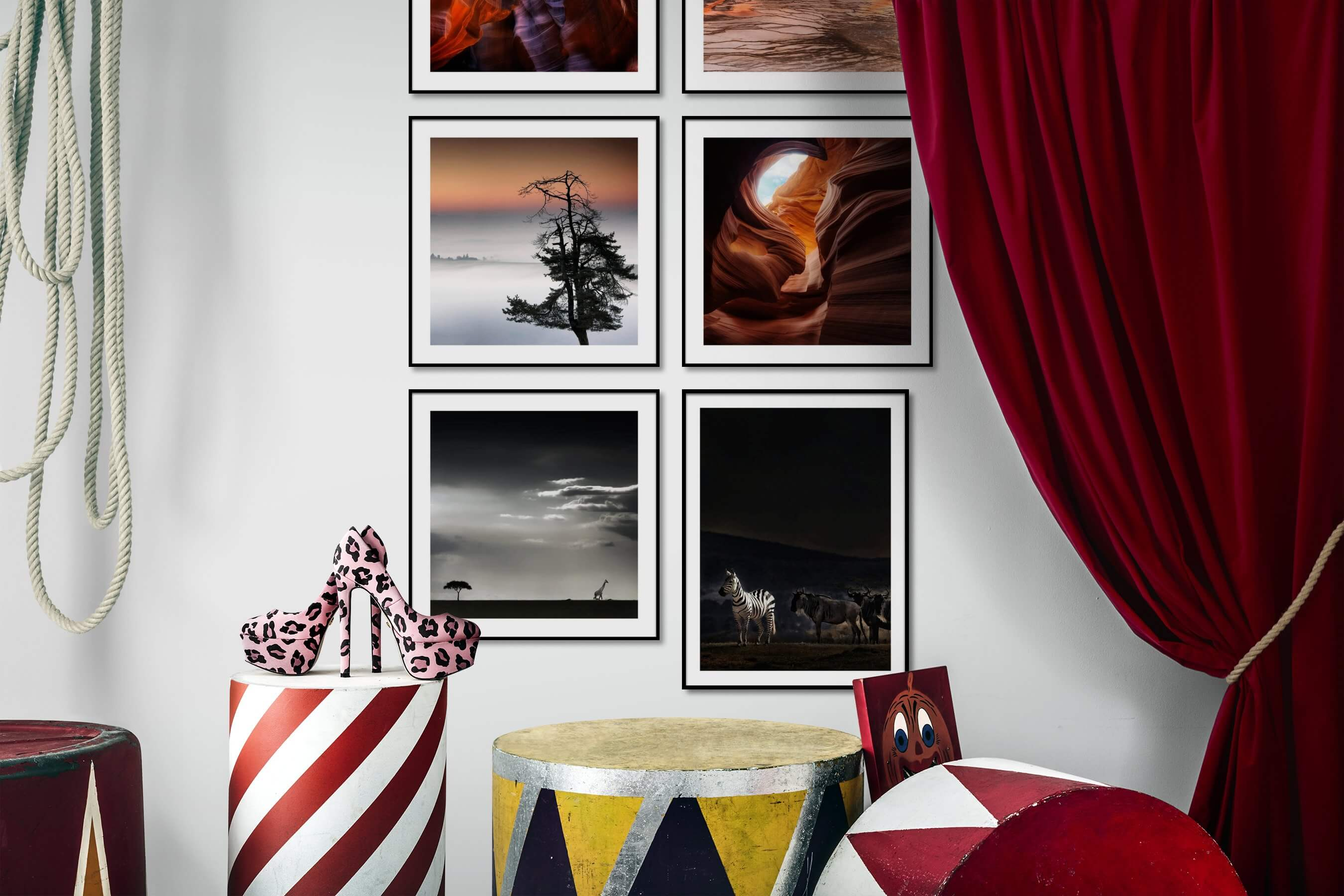 Gallery wall idea with six framed pictures arranged on a wall depicting For the Maximalist, Nature, For the Moderate, and Animals