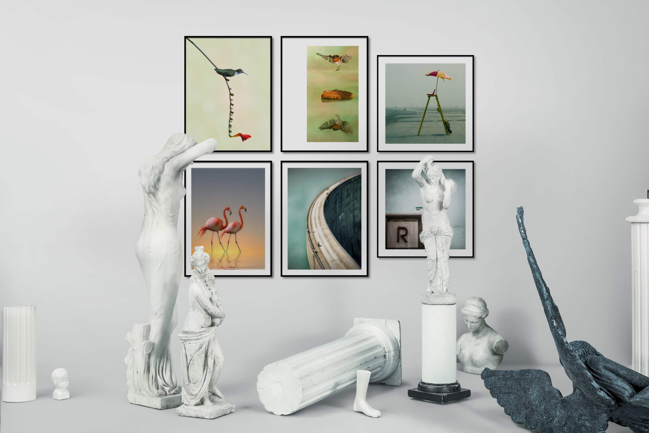 Gallery wall idea with six framed pictures arranged on a wall depicting For the Minimalist, Animals, Flowers & Plants, Mindfulness, For the Moderate, Beach & Water, and Vintage