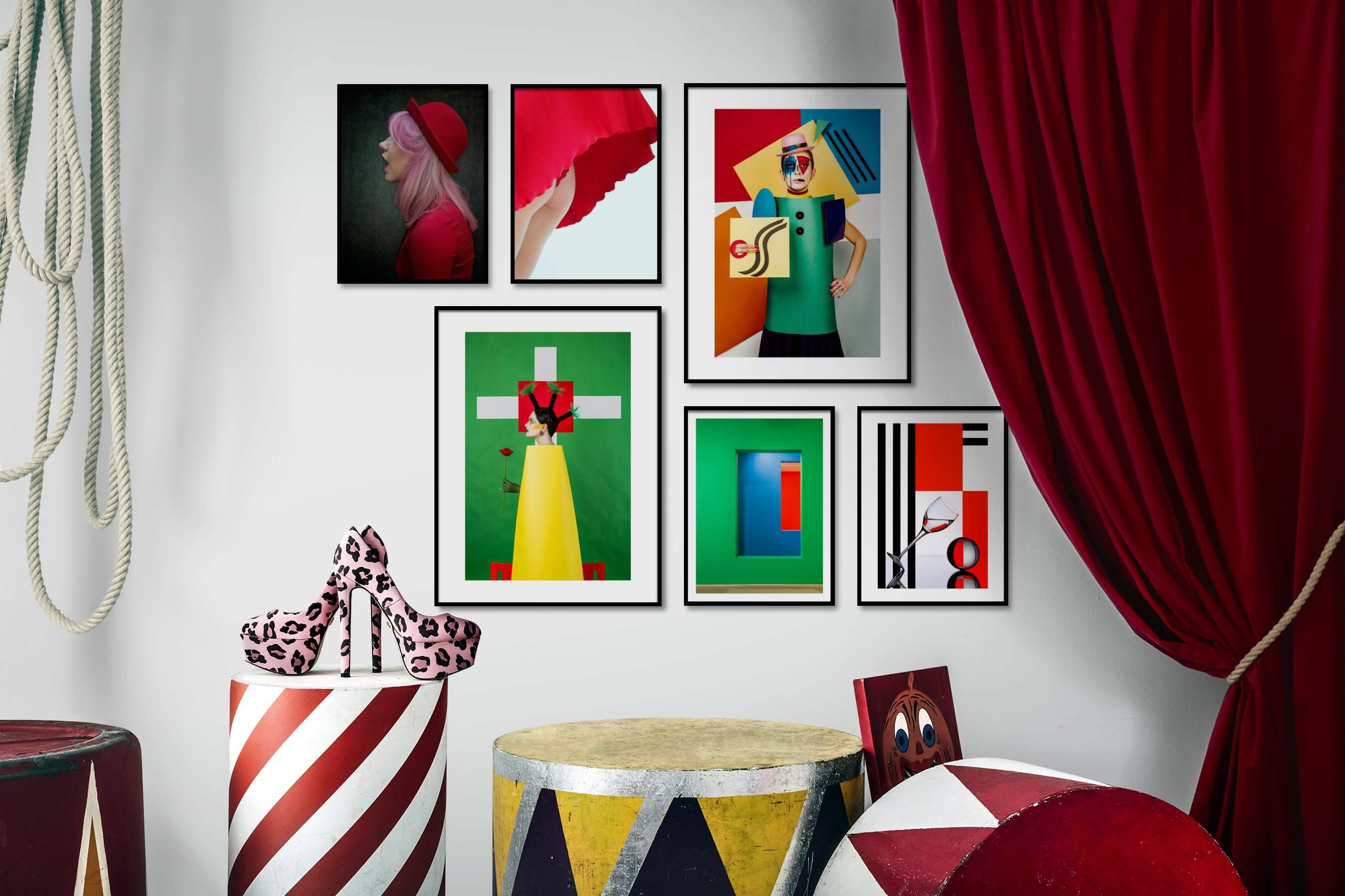Gallery wall idea with six framed pictures arranged on a wall depicting Fashion & Beauty, For the Minimalist, Artsy, Colorful, and For the Maximalist