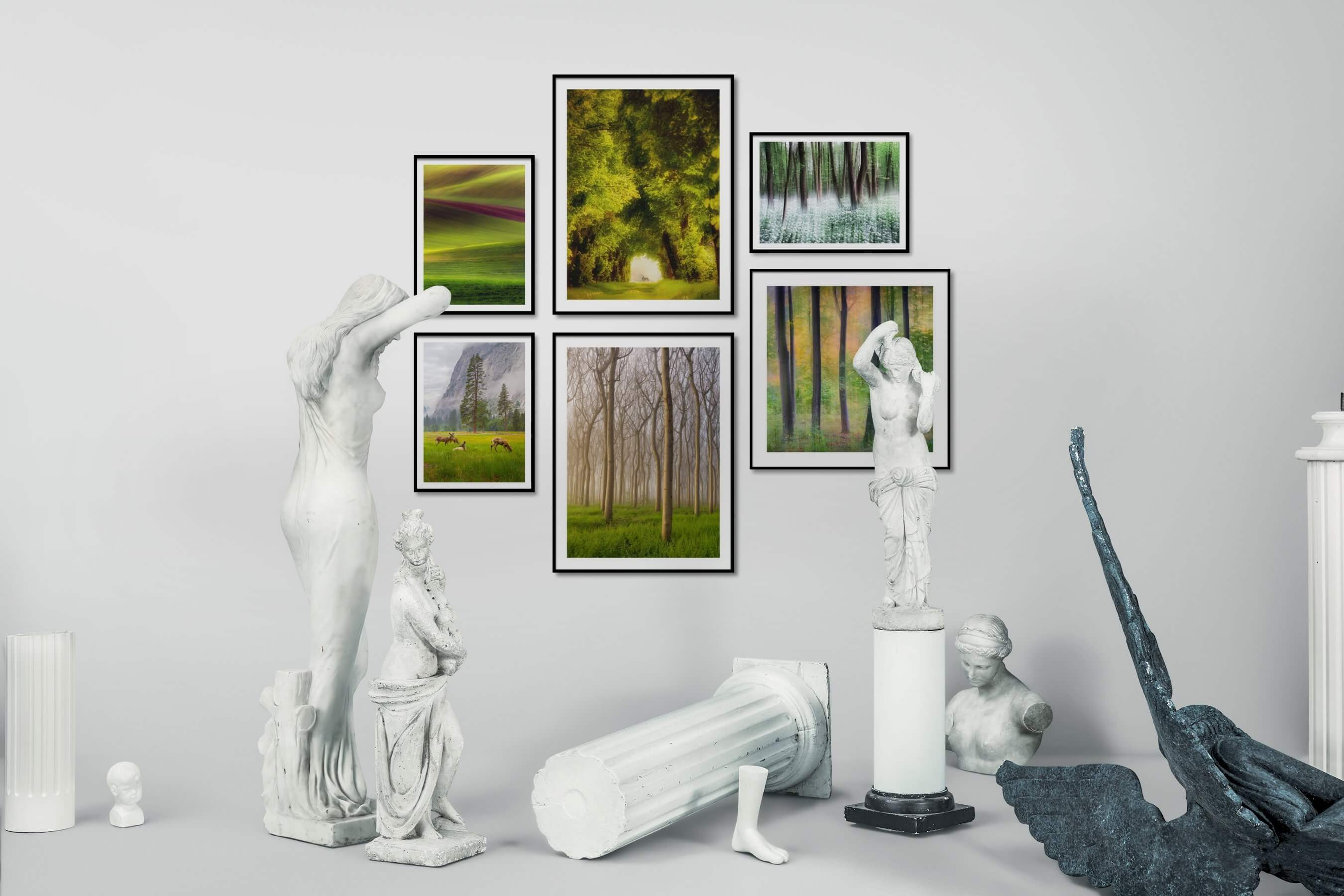 Gallery wall idea with six framed pictures arranged on a wall depicting For the Minimalist, Country Life, Nature, and Animals