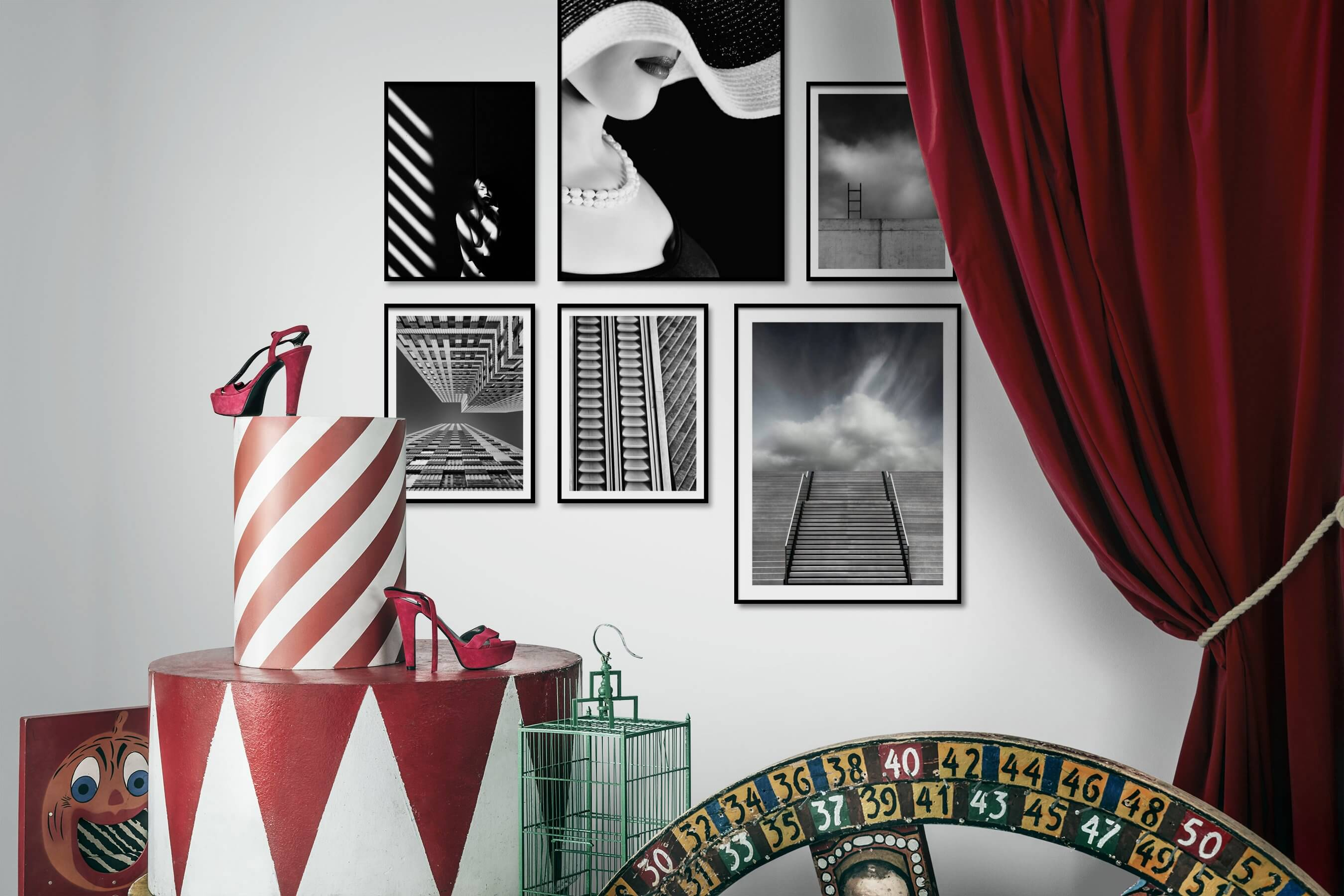 Gallery wall idea with six framed pictures arranged on a wall depicting Artsy, Black & White, Dark Tones, For the Minimalist, Fashion & Beauty, Vintage, For the Moderate, and City Life