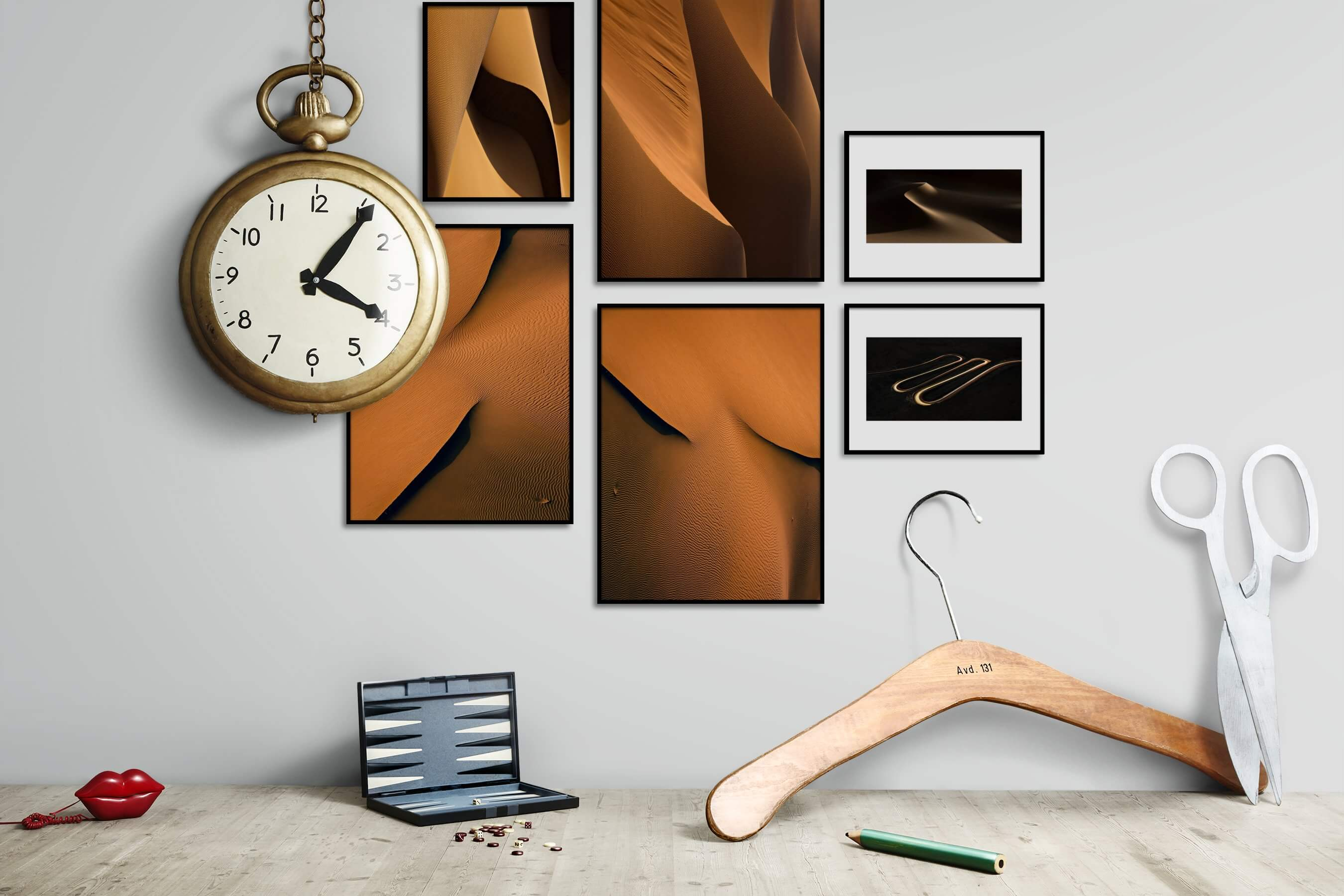 Gallery wall idea with six framed pictures arranged on a wall depicting For the Moderate, Nature, and For the Minimalist