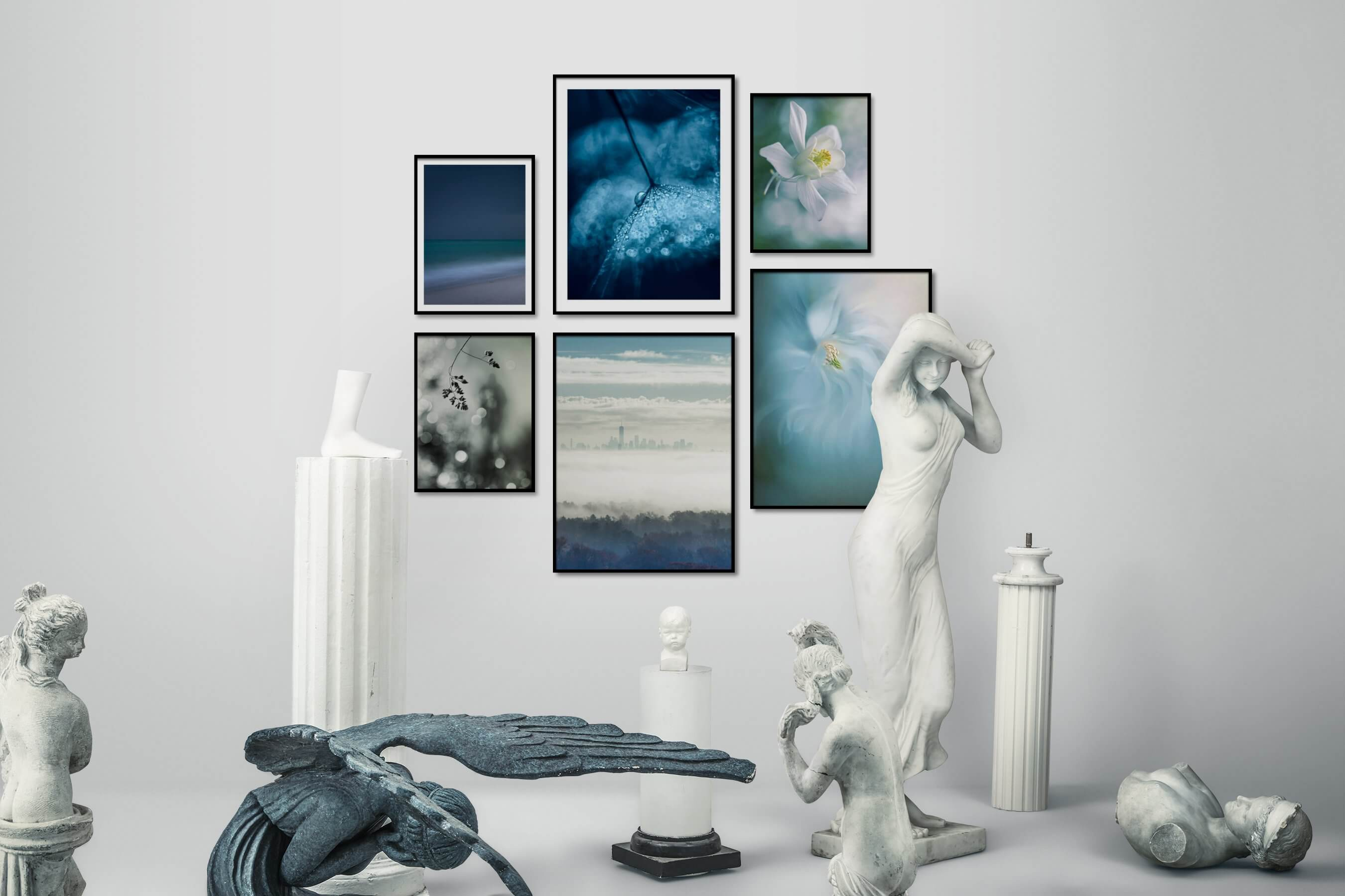 Gallery wall idea with six framed pictures arranged on a wall depicting For the Minimalist, Beach & Water, For the Moderate, Flowers & Plants, City Life, and Americana