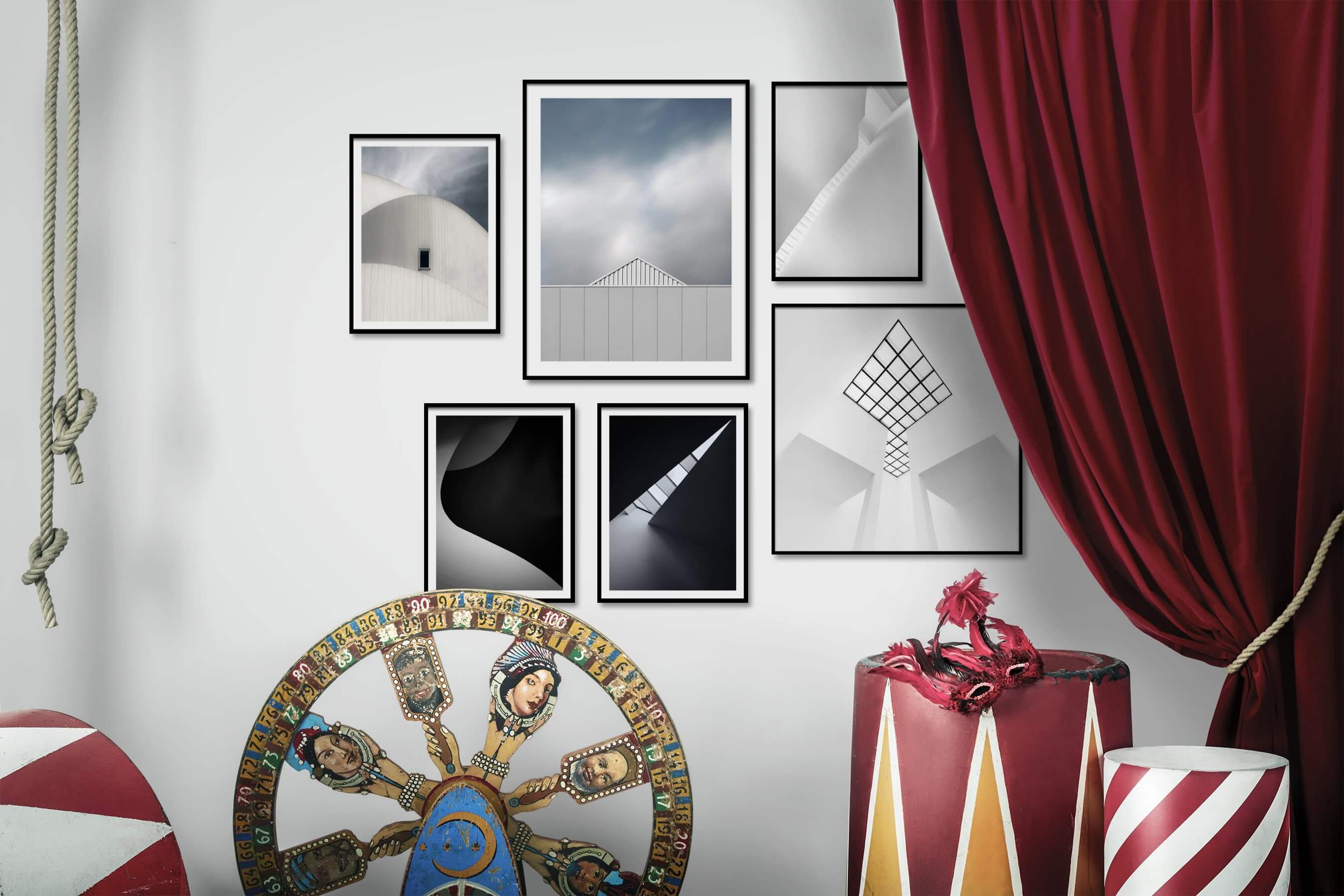 Gallery wall idea with six framed pictures arranged on a wall depicting For the Minimalist, Black & White, and Bright Tones