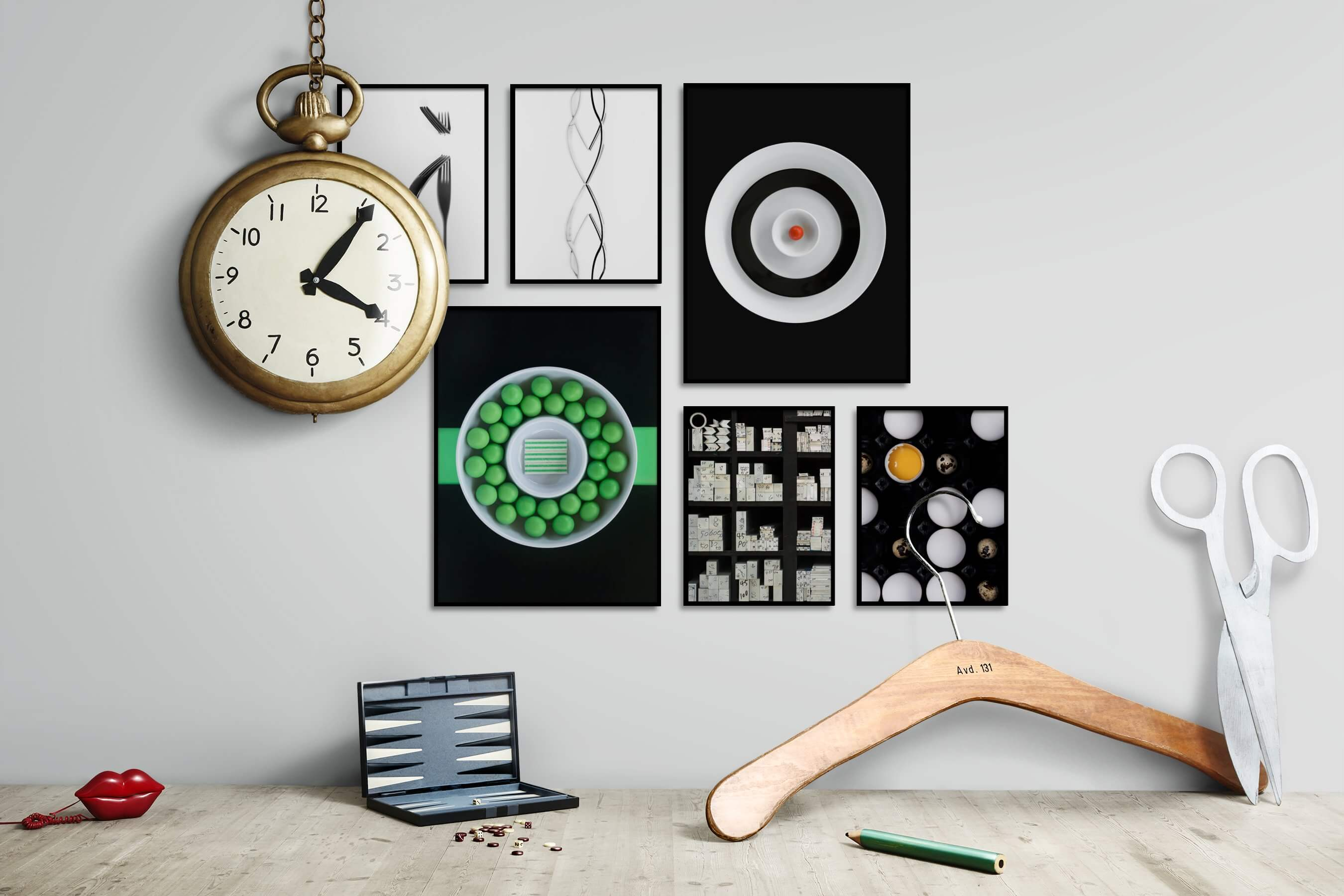 Gallery wall idea with six framed pictures arranged on a wall depicting Black & White, Bright Tones, For the Minimalist, Dark Tones, For the Maximalist, and For the Moderate