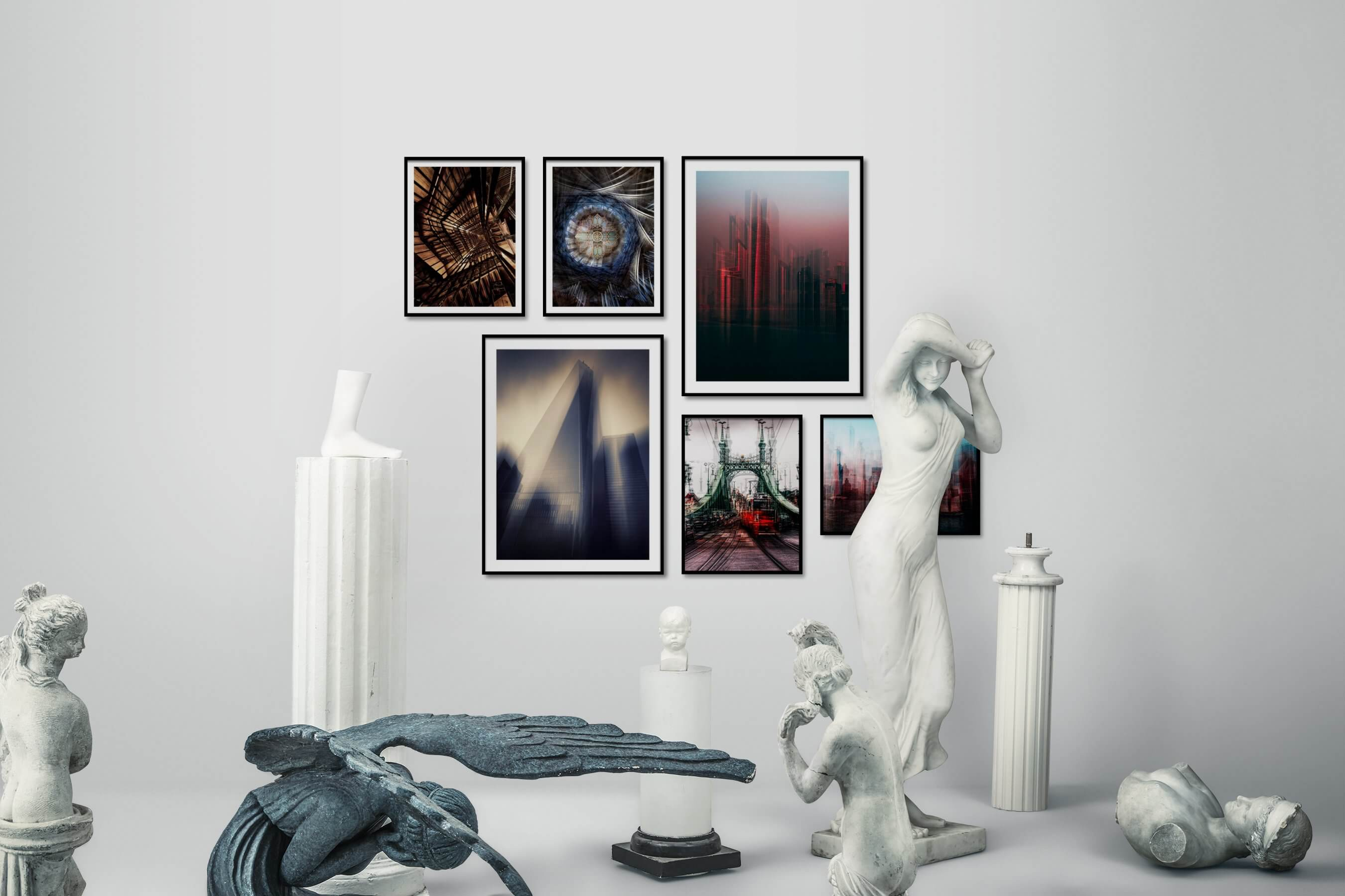 Gallery wall idea with six framed pictures arranged on a wall depicting For the Maximalist, For the Moderate, City Life, and Americana