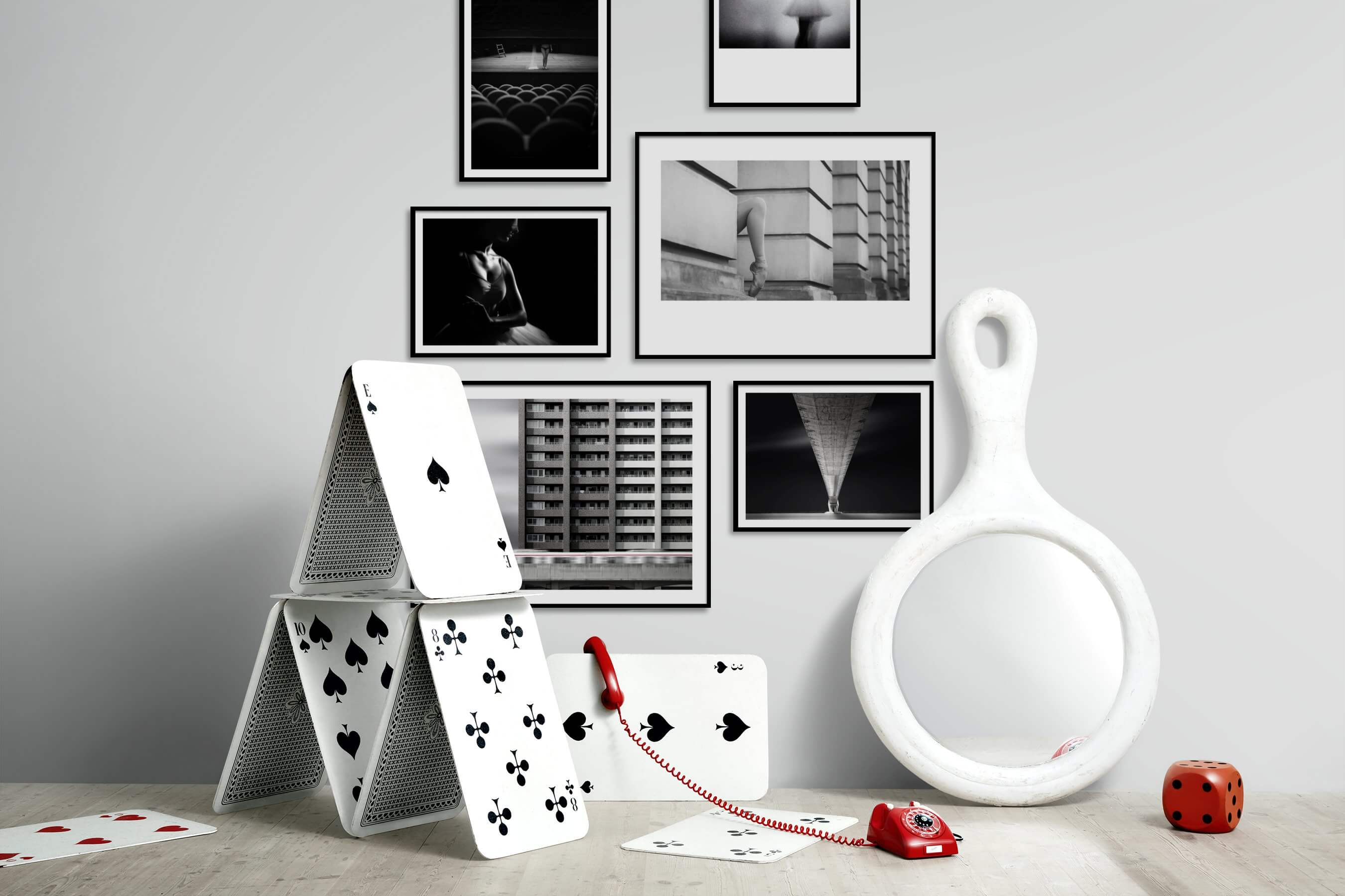 Gallery wall idea with six framed pictures arranged on a wall depicting Artsy, Black & White, For the Moderate, Fashion & Beauty, For the Minimalist, and City Life