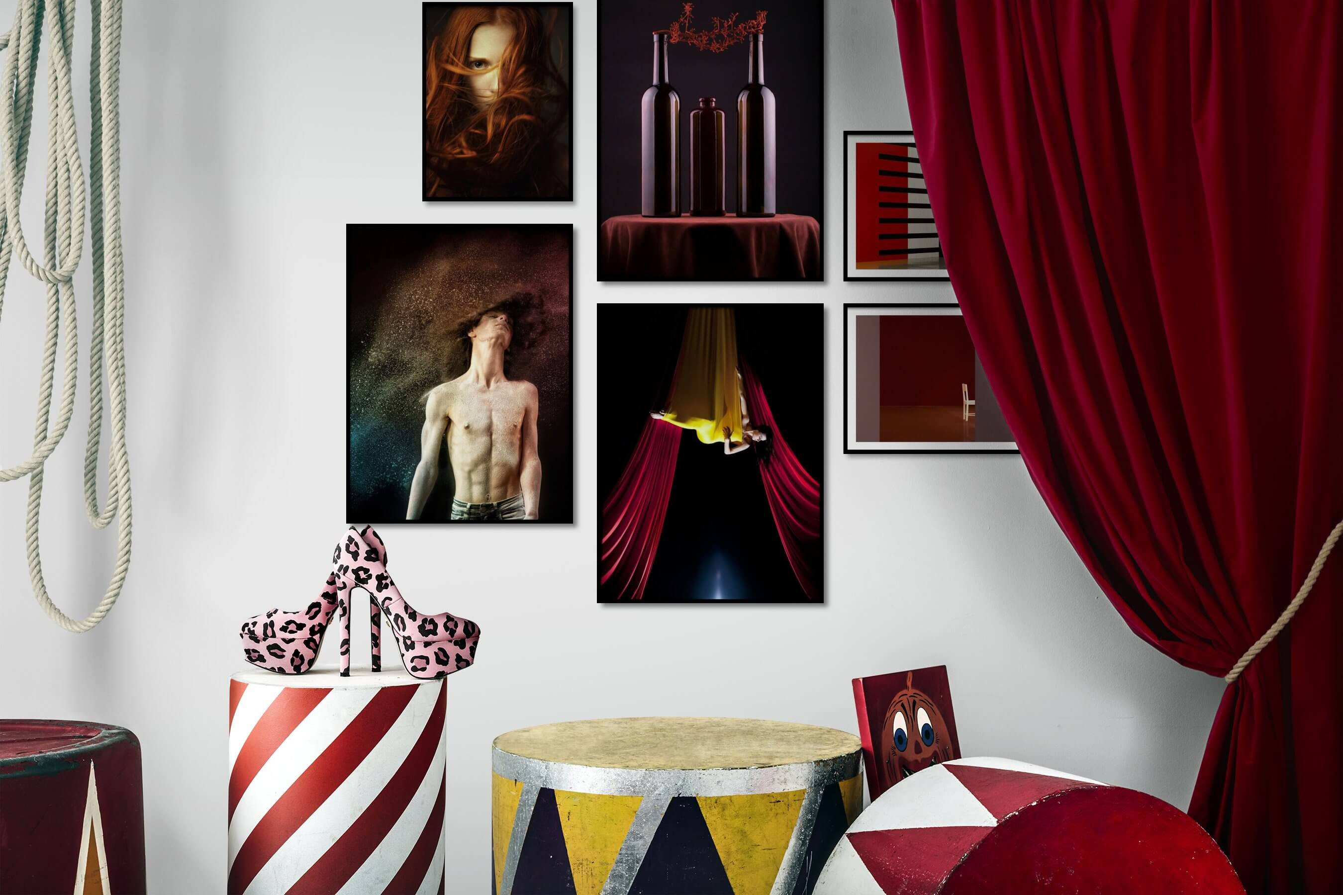Gallery wall idea with six framed pictures arranged on a wall depicting Fashion & Beauty, Dark Tones, For the Moderate, and For the Minimalist
