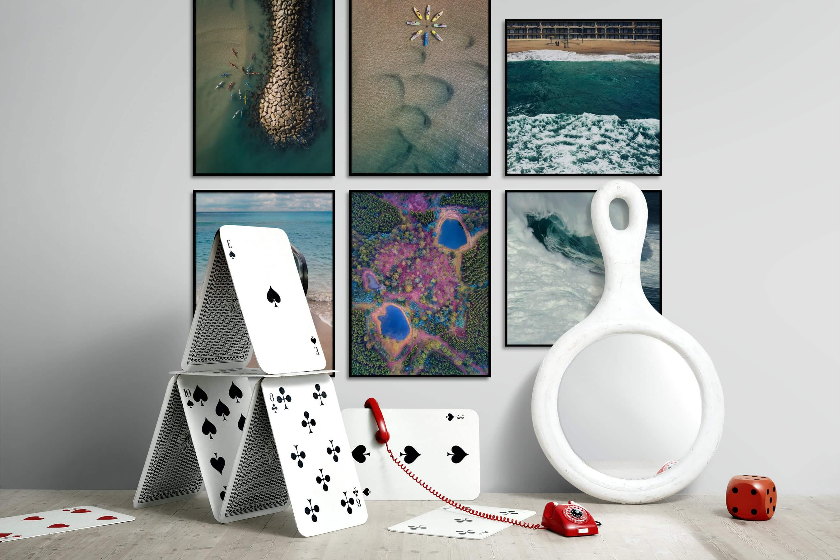 Gallery wall idea with six framed pictures arranged on a wall depicting For the Moderate, Beach & Water, For the Minimalist, Mindfulness, Artsy, and Nature