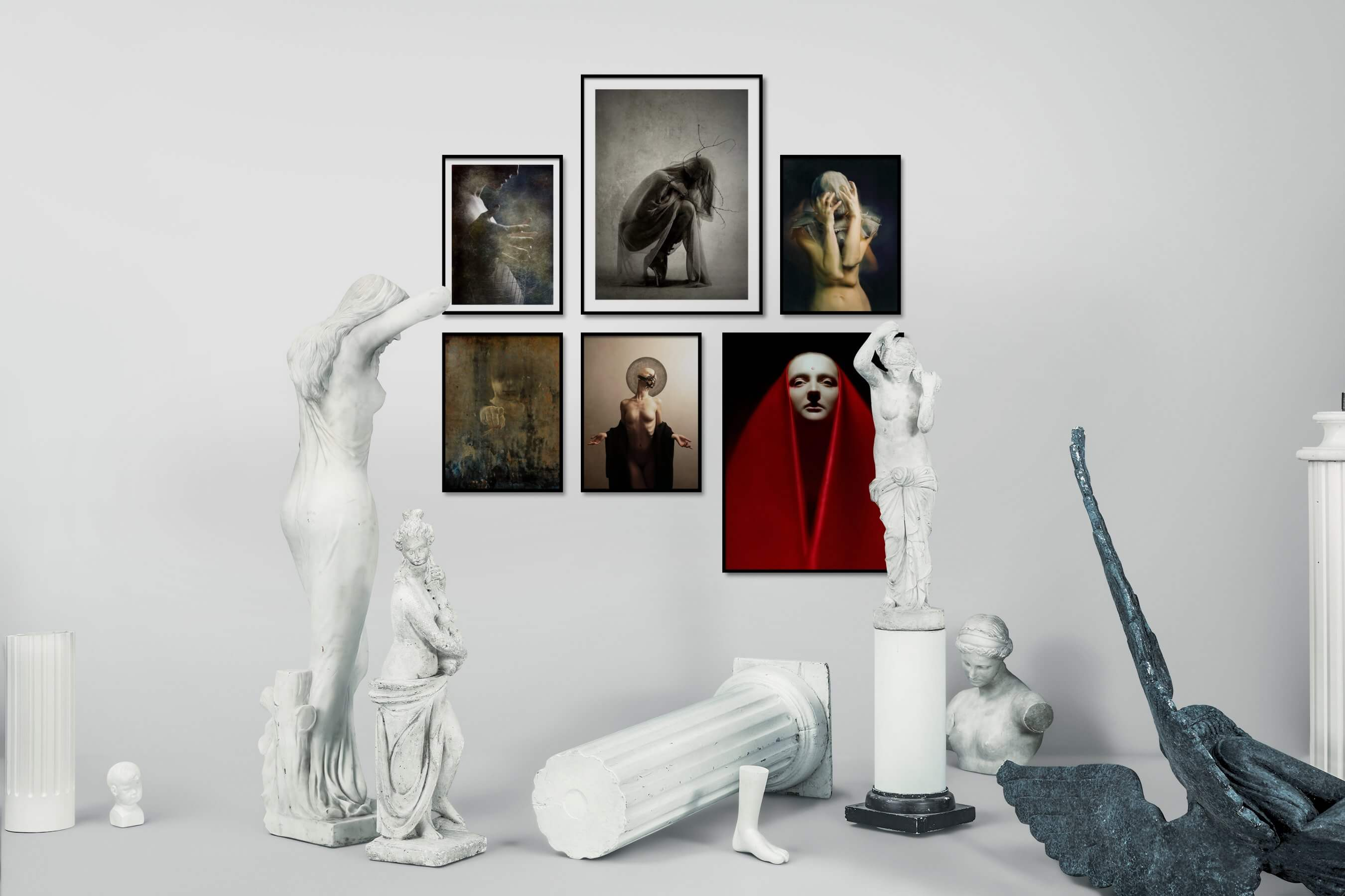 Gallery wall idea with six framed pictures arranged on a wall depicting Artsy, Vintage, Fashion & Beauty, and Black & White