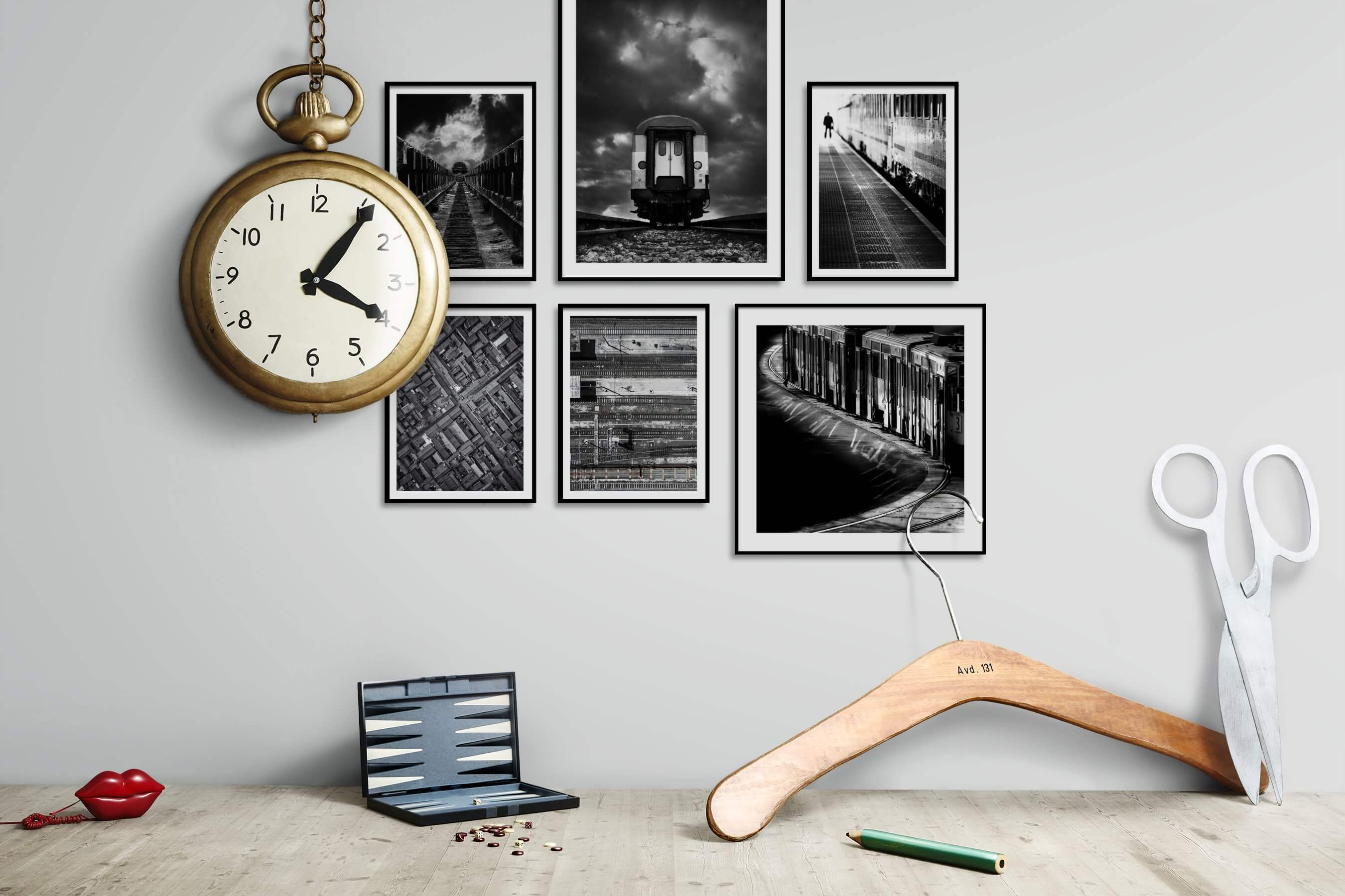 Gallery wall idea with six framed pictures arranged on a wall depicting Black & White, Country Life, For the Maximalist, and City Life