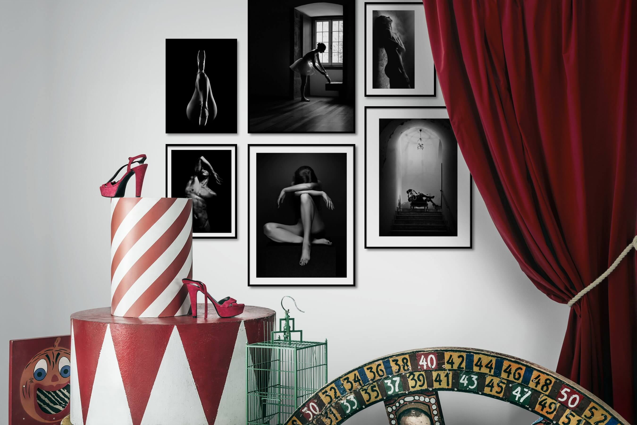 Gallery wall idea with six framed pictures arranged on a wall depicting Fashion & Beauty, Black & White, Dark Tones, For the Minimalist, and Vintage