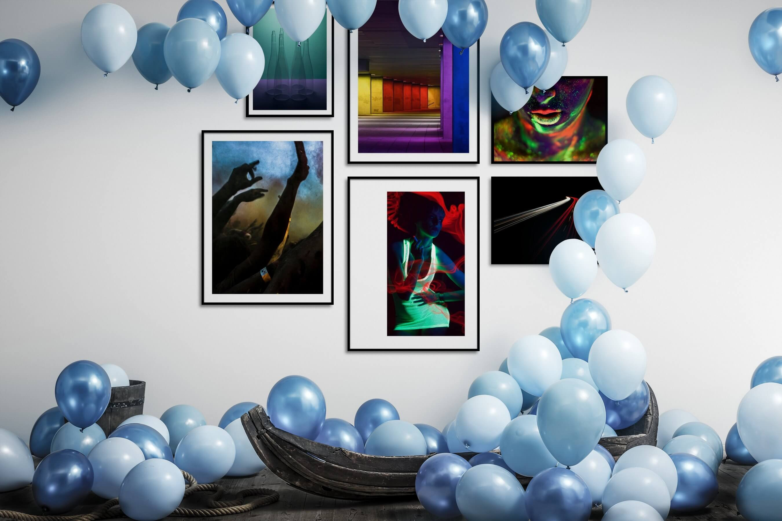 Gallery wall idea with six framed pictures arranged on a wall depicting For the Minimalist, Colorful, For the Moderate, City Life, Fashion & Beauty, and Dark Tones