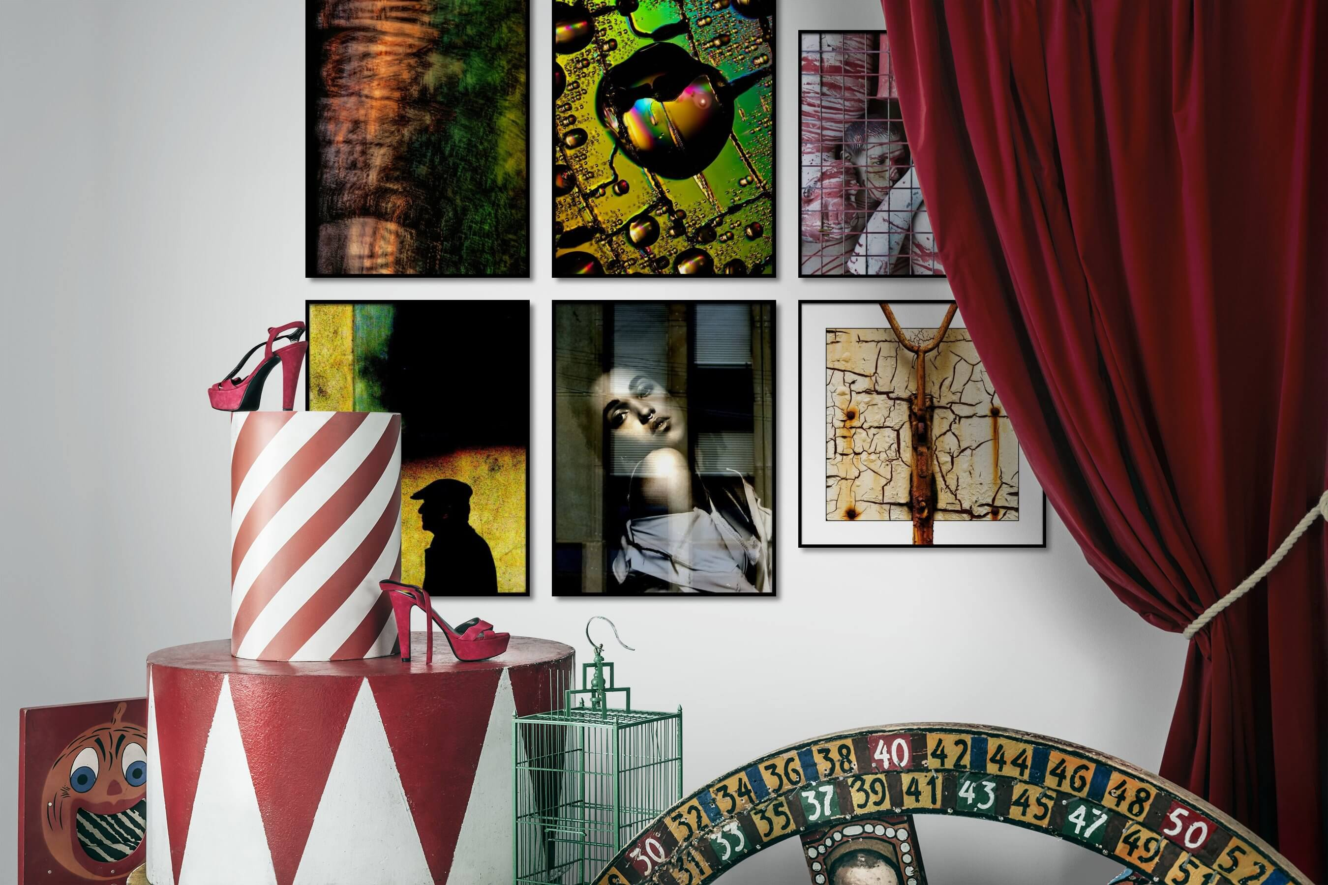Gallery wall idea with six framed pictures arranged on a wall depicting For the Maximalist, Nature, Artsy, Fashion & Beauty, and Vintage