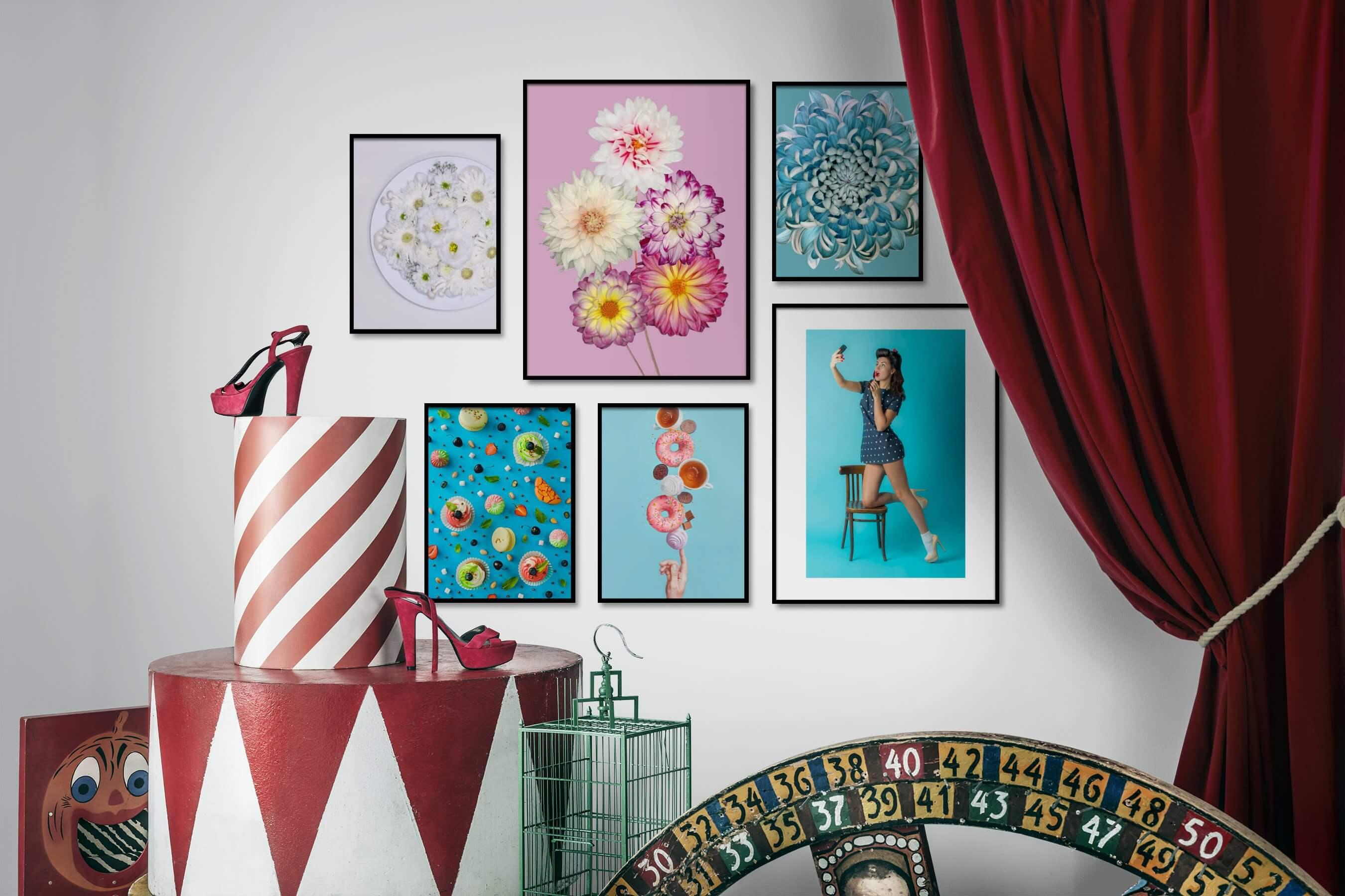 Gallery wall idea with six framed pictures arranged on a wall depicting For the Moderate, Flowers & Plants, Colorful, Vintage, and Fashion & Beauty