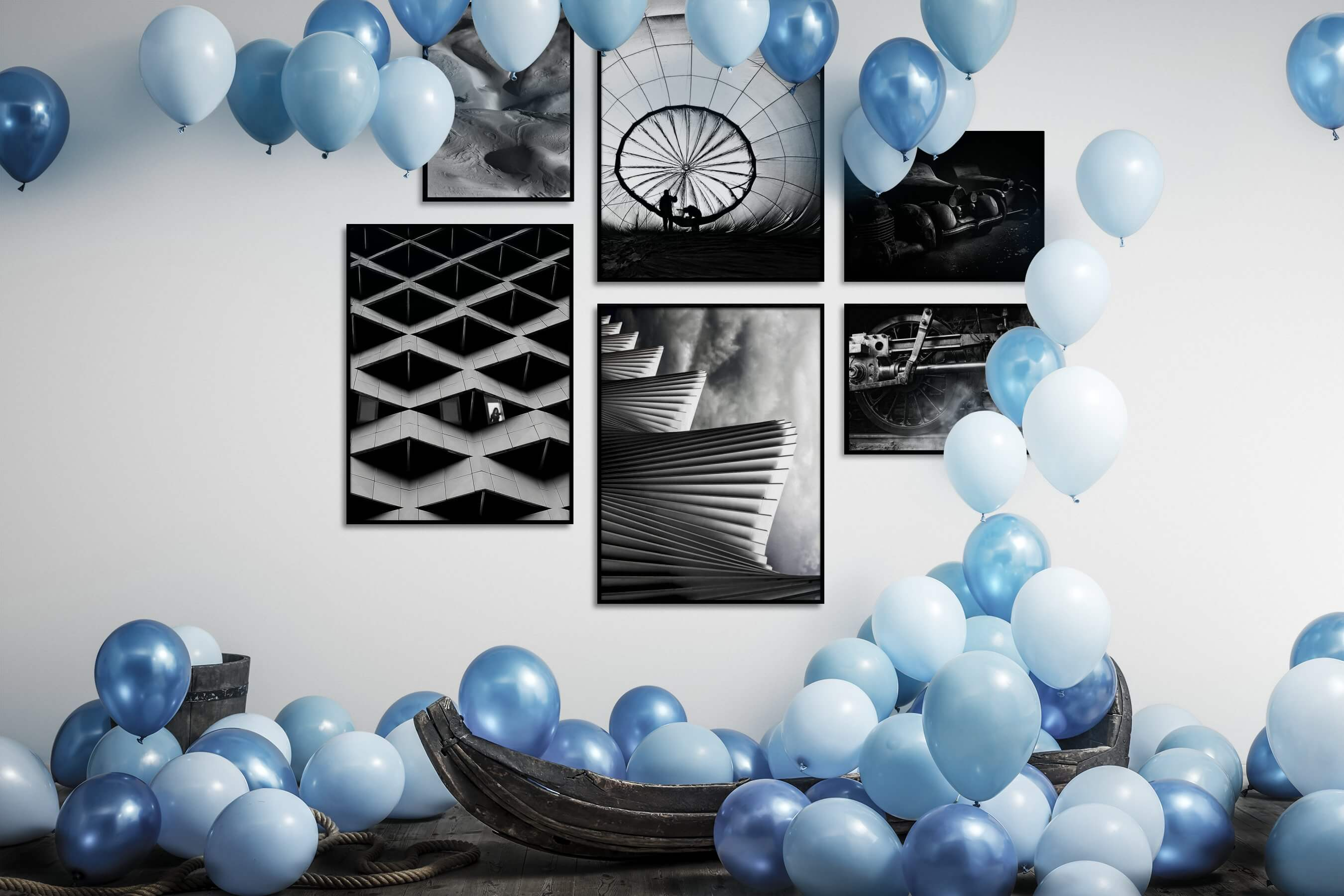 Gallery wall idea with six framed pictures arranged on a wall depicting Black & White, For the Moderate, Nature, For the Maximalist, Dark Tones, For the Minimalist, and Vintage