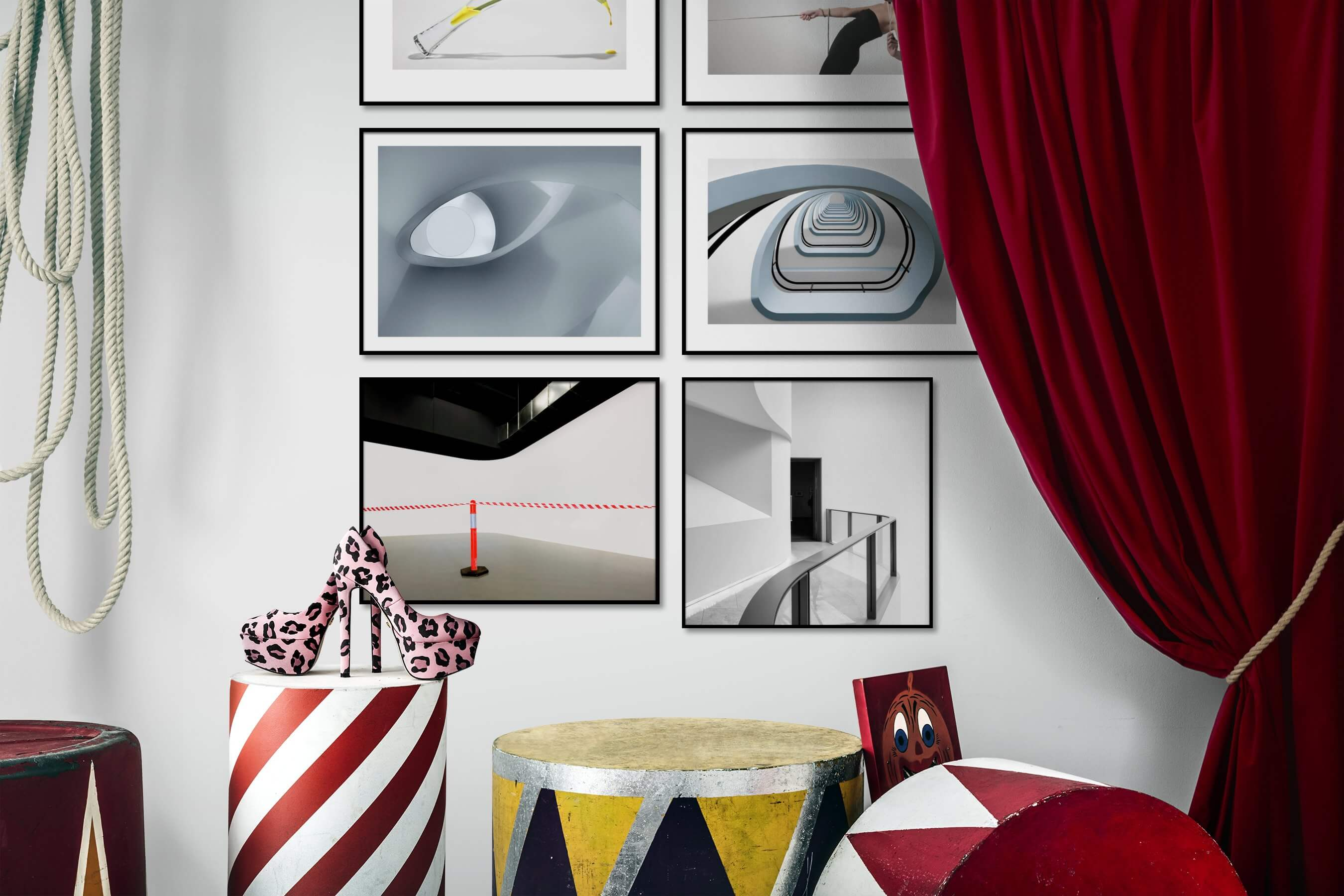 Gallery wall idea with six framed pictures arranged on a wall depicting For the Minimalist, Flowers & Plants, Fashion & Beauty, For the Moderate, and Black & White