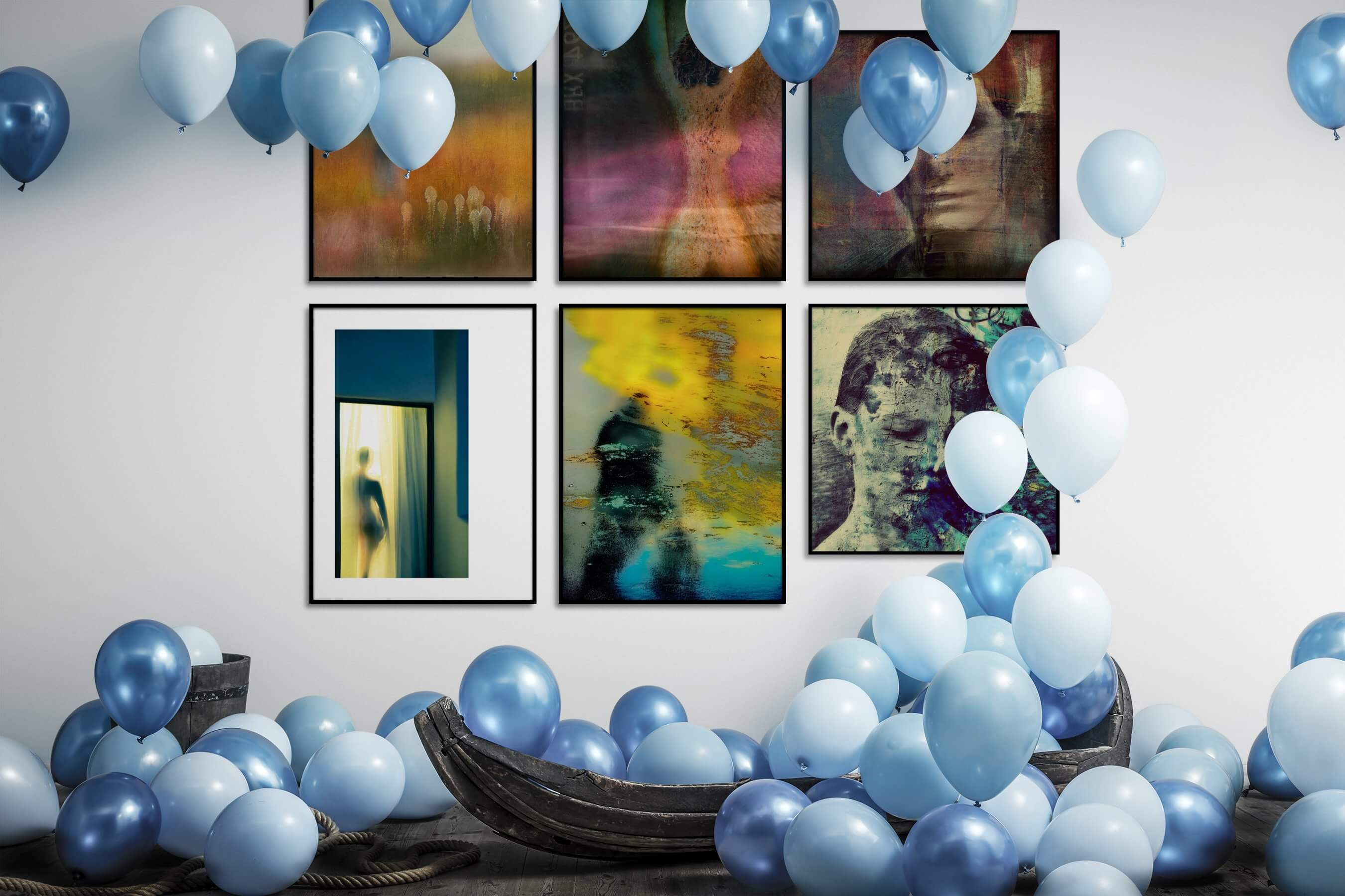 Gallery wall idea with six framed pictures arranged on a wall depicting Artsy and Country Life