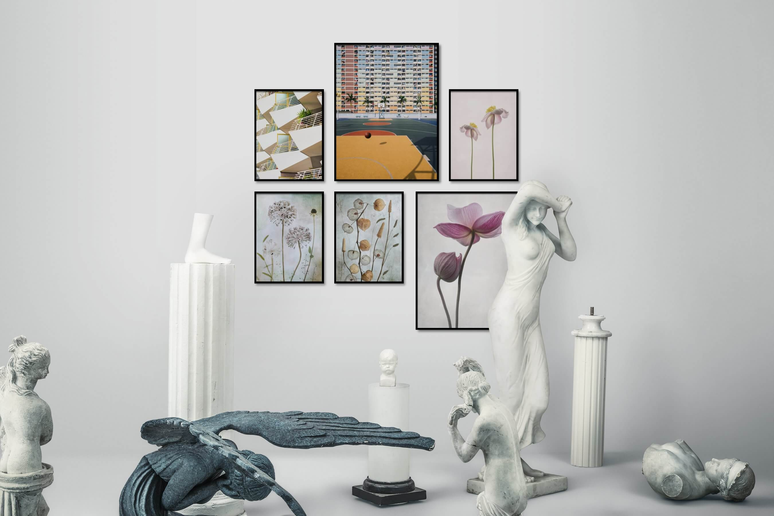 Gallery wall idea with six framed pictures arranged on a wall depicting For the Maximalist, City Life, Vintage, Flowers & Plants, and For the Minimalist