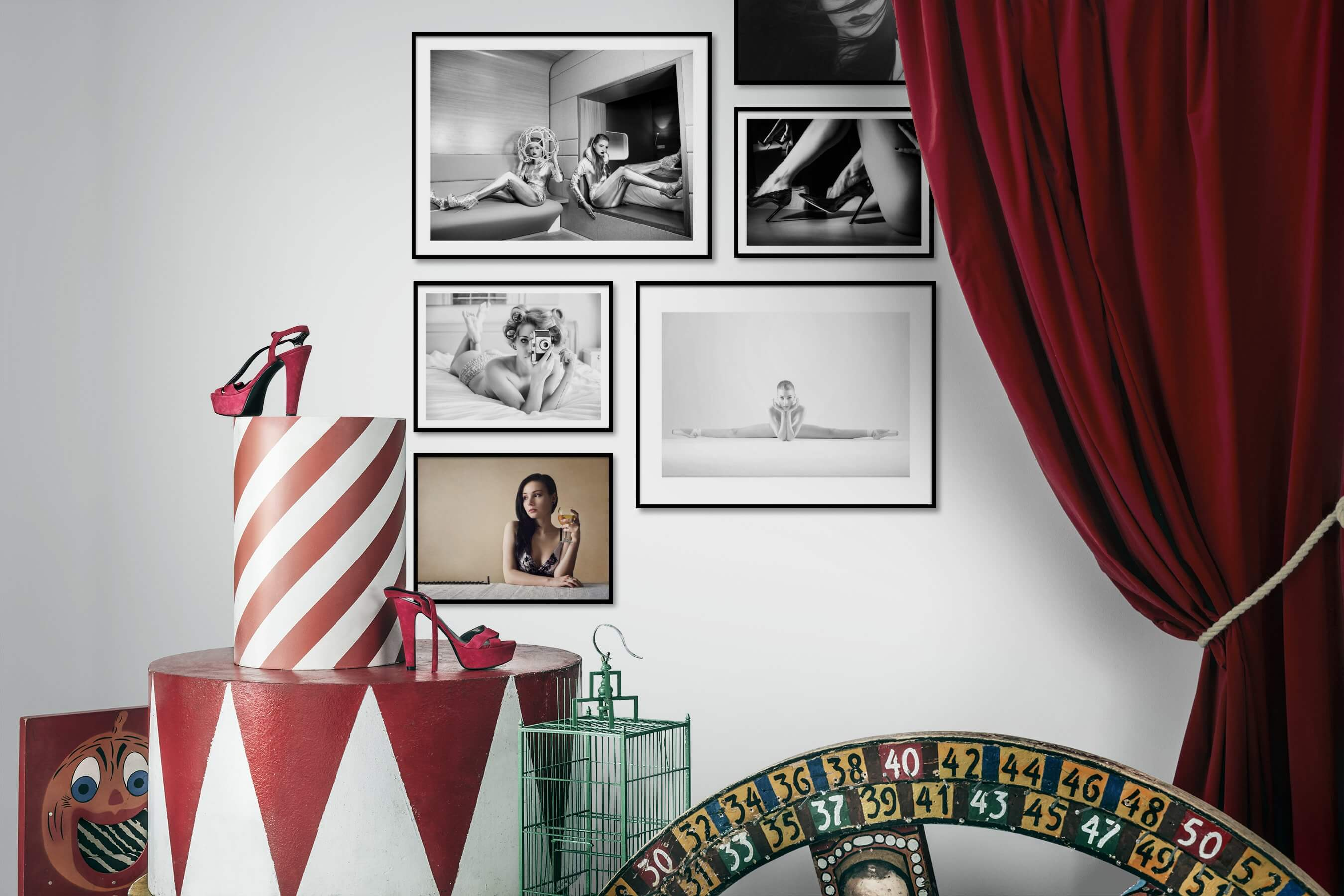 Gallery wall idea with six framed pictures arranged on a wall depicting Fashion & Beauty, Black & White, Vintage, For the Minimalist, and Artsy