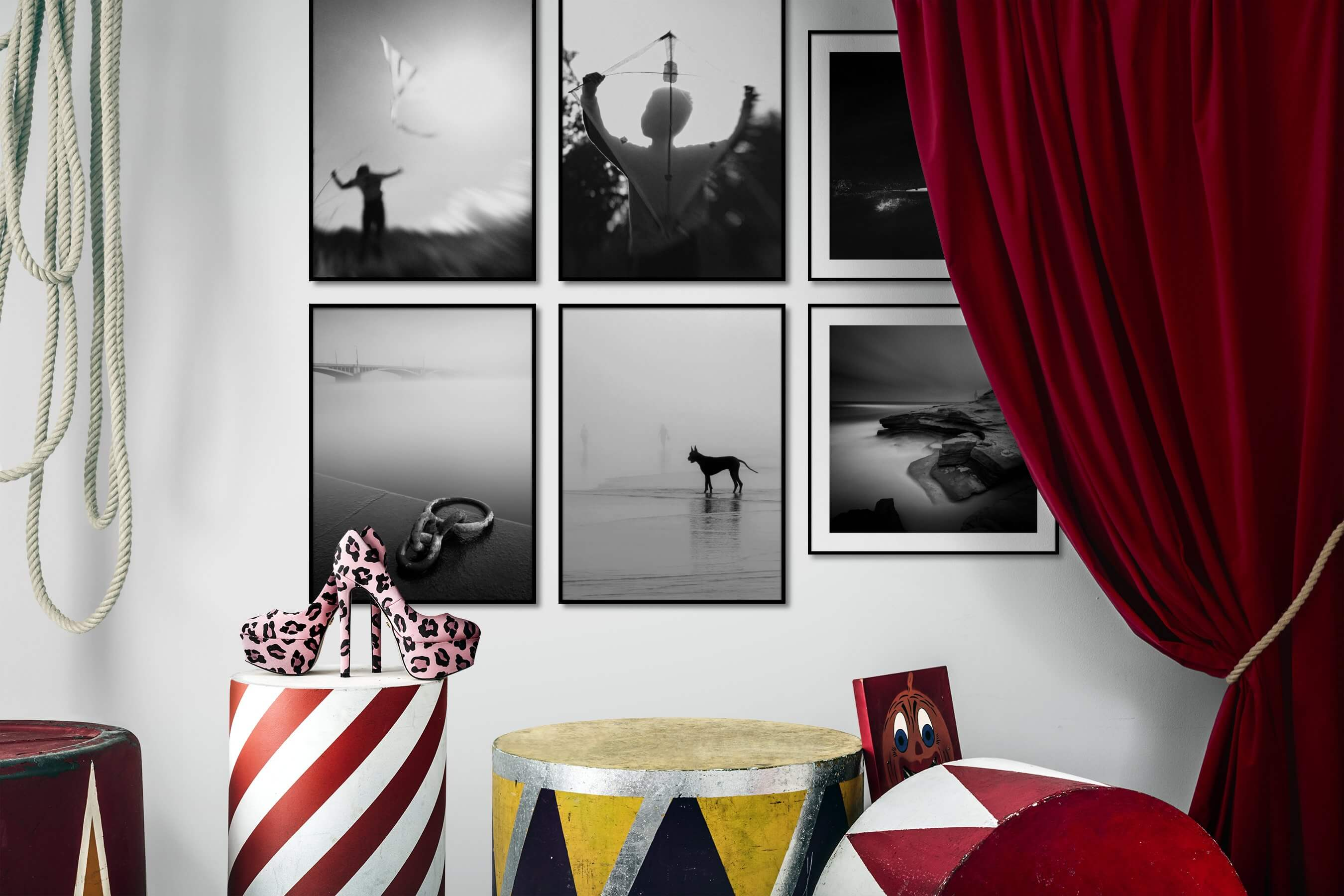 Gallery wall idea with six framed pictures arranged on a wall depicting Black & White, Country Life, For the Moderate, Beach & Water, For the Minimalist, and Animals