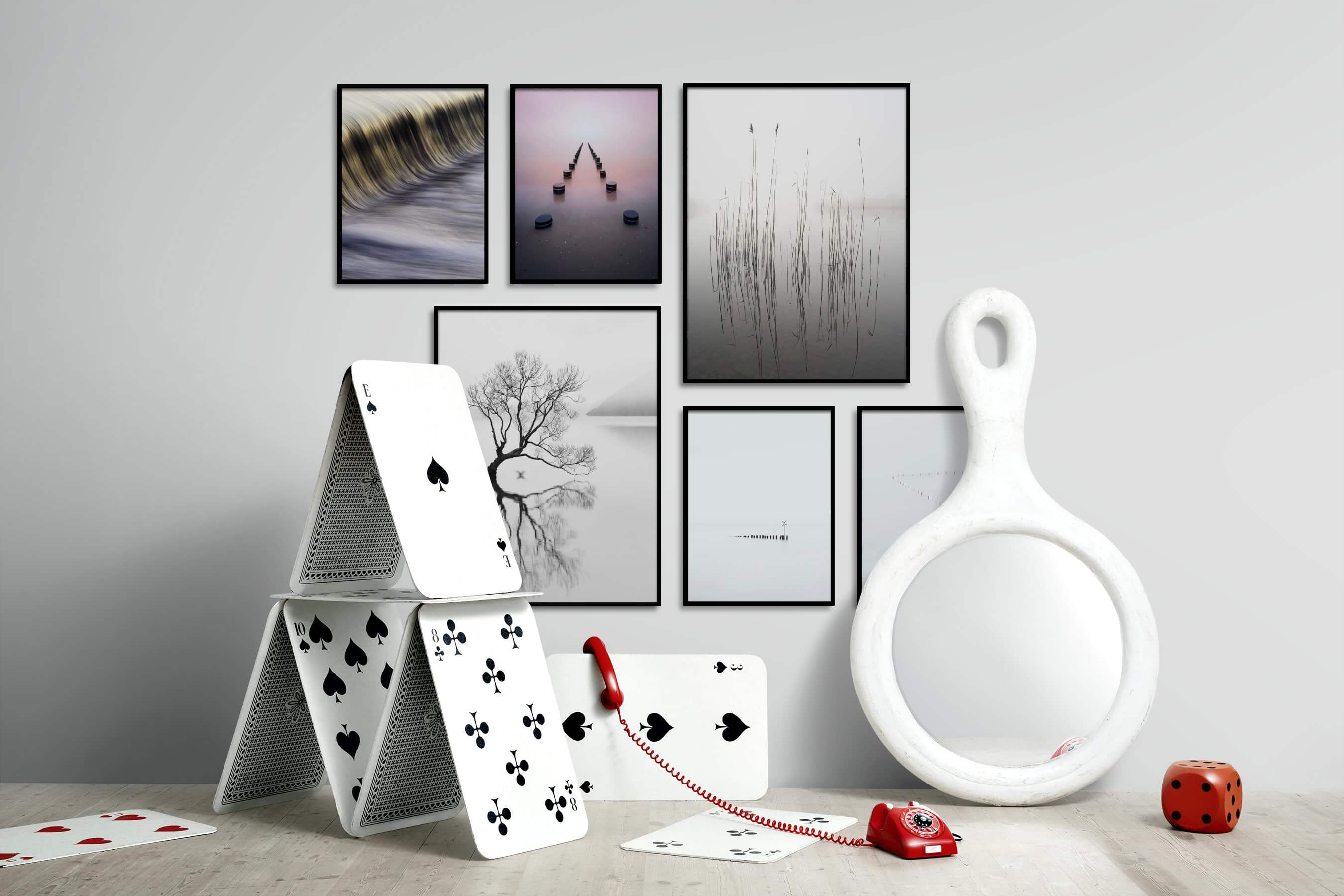 Gallery wall idea with six framed pictures arranged on a wall depicting For the Moderate, Beach & Water, For the Minimalist, Mindfulness, Black & White, Nature, and Flowers & Plants