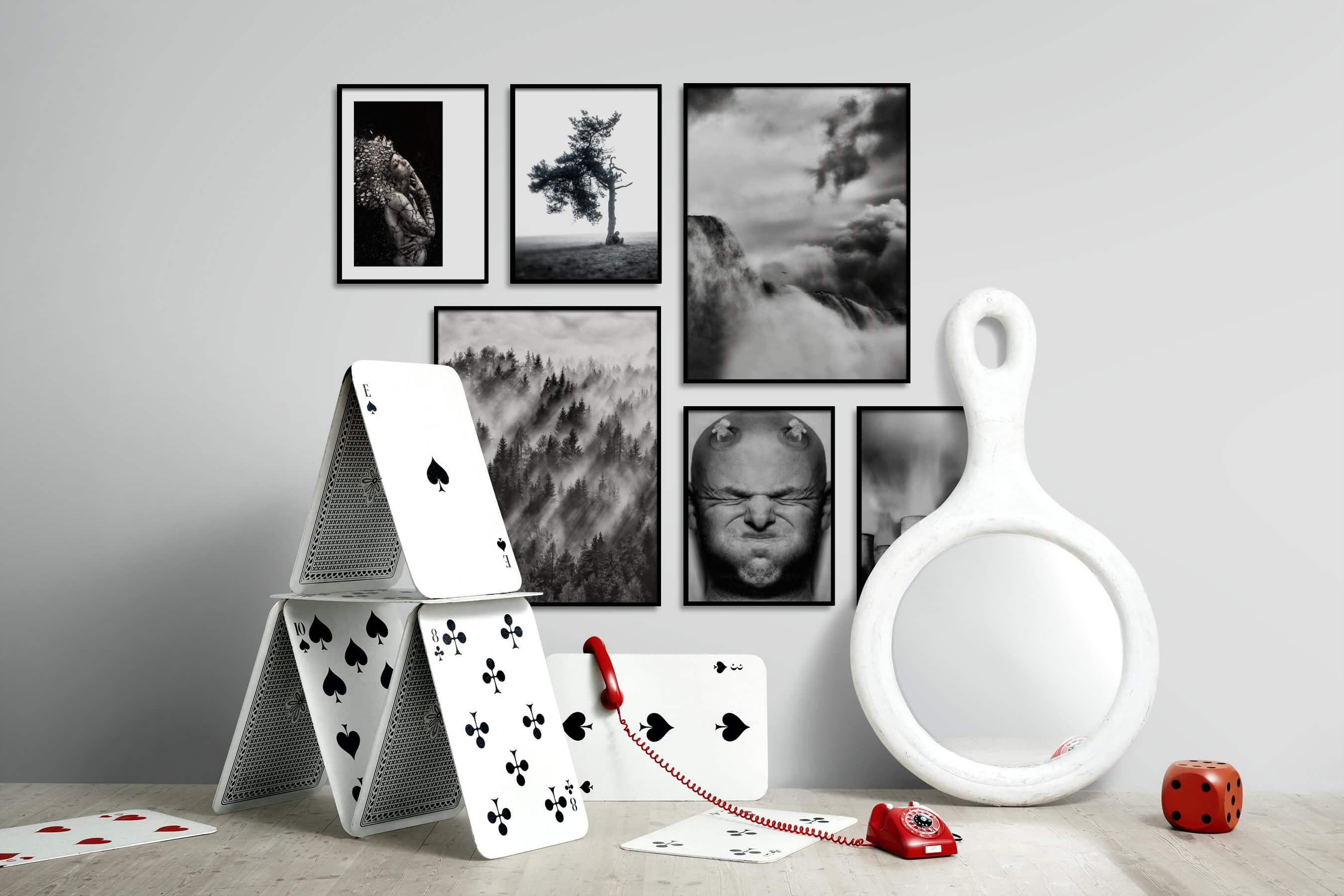 Gallery wall idea with six framed pictures arranged on a wall depicting Artsy, For the Moderate, Black & White, Bright Tones, Country Life, Nature, and Mindfulness
