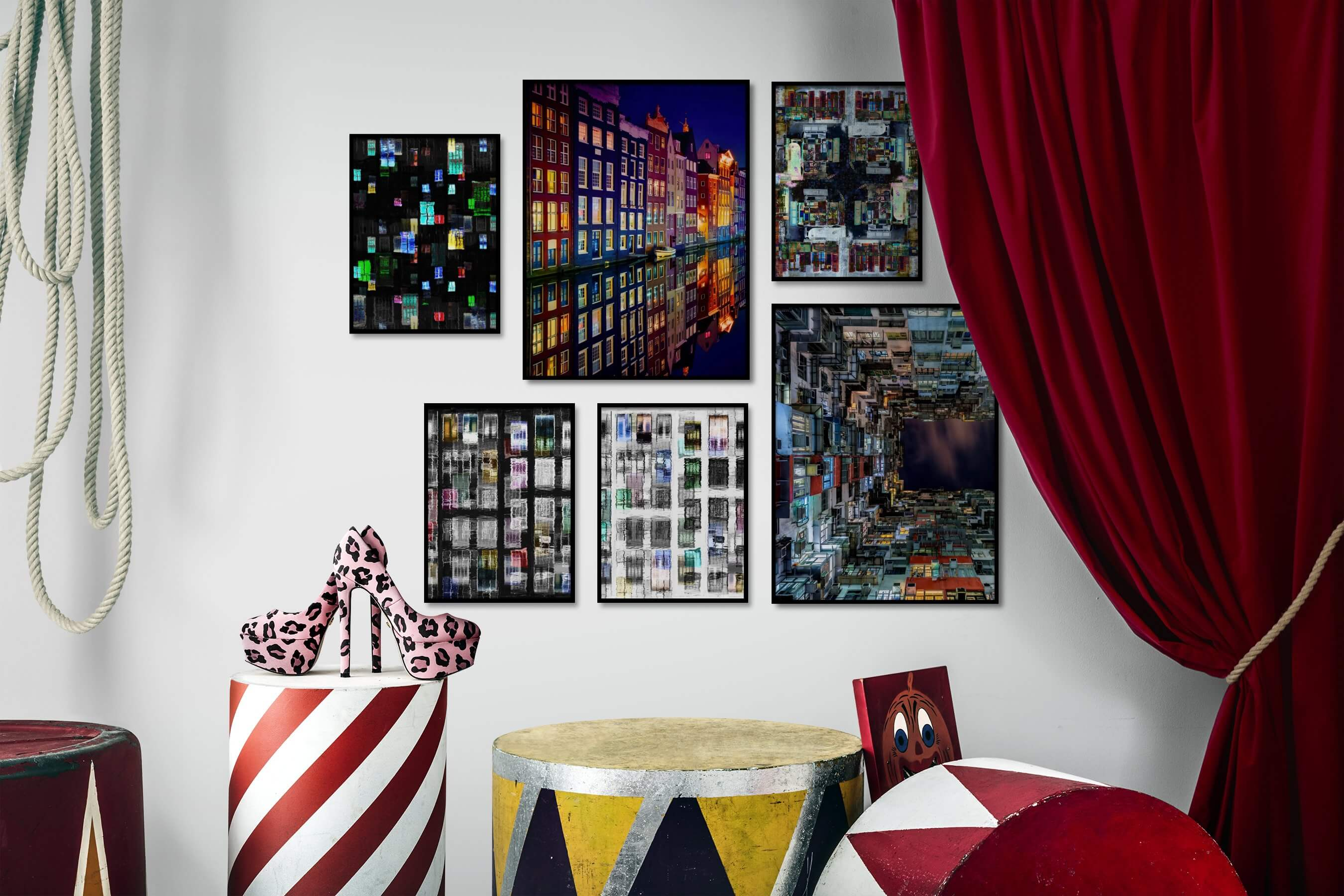 Gallery wall idea with six framed pictures arranged on a wall depicting For the Maximalist, Colorful, and City Life