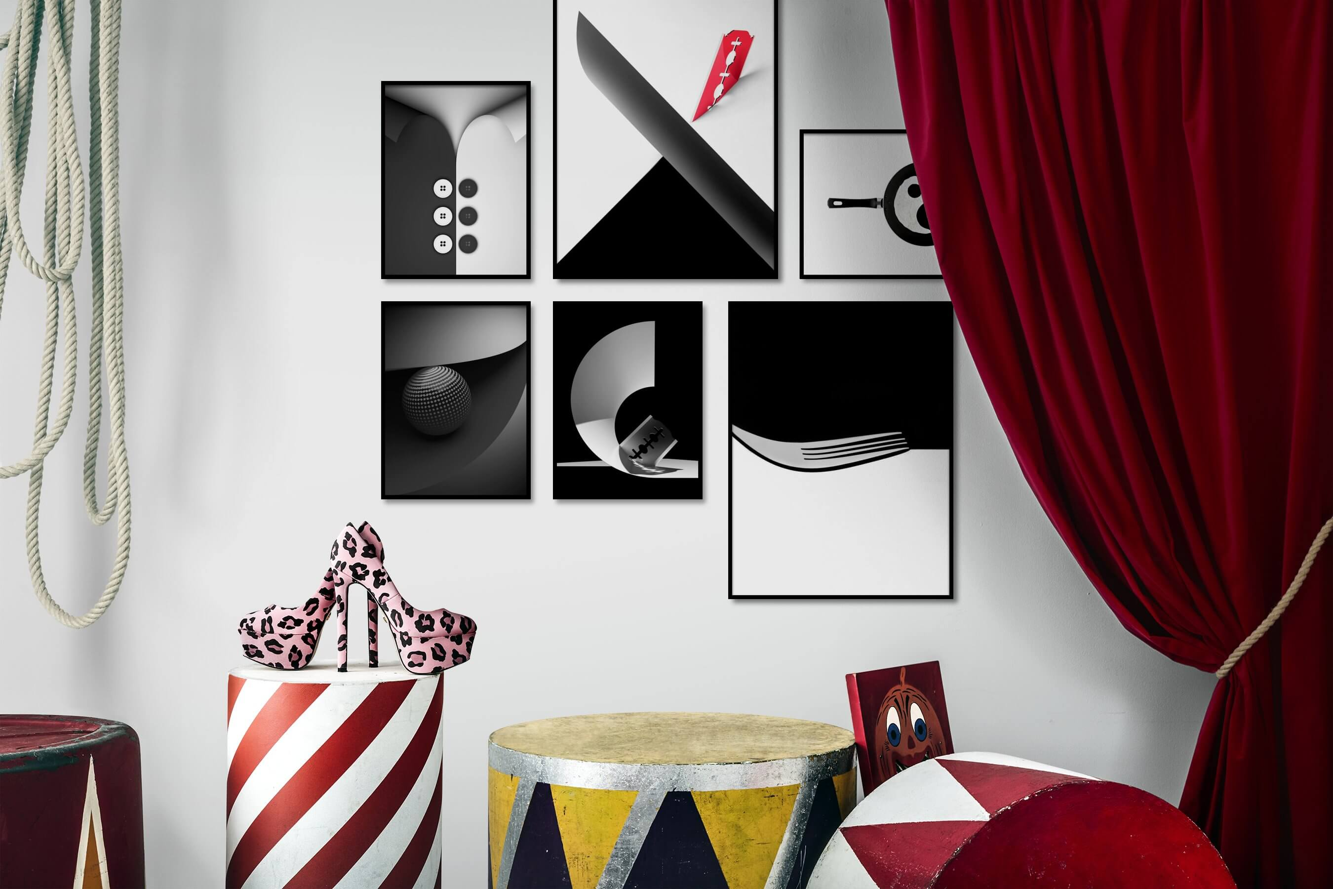 Gallery wall idea with six framed pictures arranged on a wall depicting Black & White, For the Moderate, For the Minimalist, Dark Tones, Bright Tones, and Mindfulness