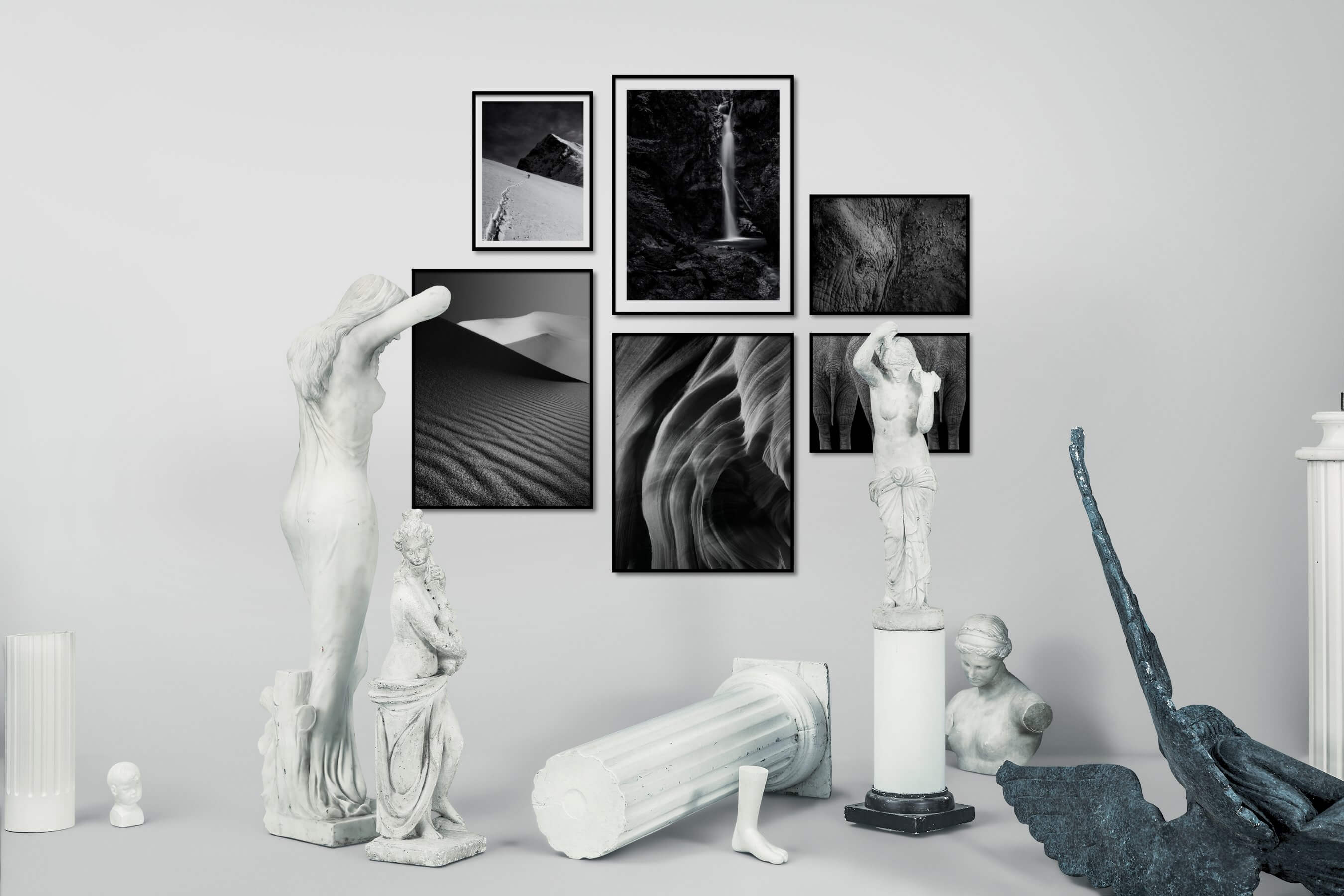 Gallery wall idea with six framed pictures arranged on a wall depicting Black & White, For the Moderate, Nature, Mindfulness, For the Minimalist, and Animals