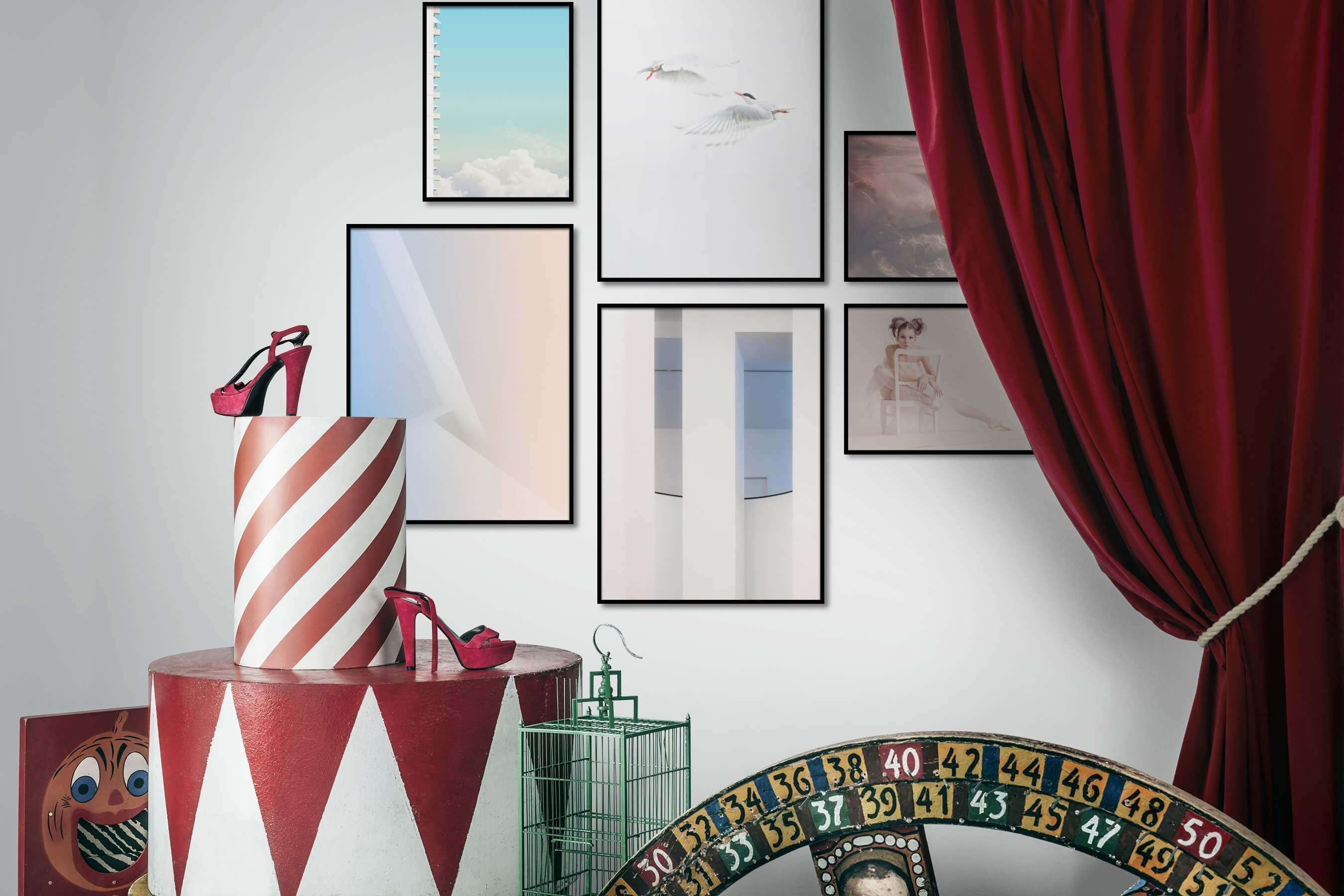 Gallery wall idea with six framed pictures arranged on a wall depicting For the Minimalist, City Life, Mindfulness, Bright Tones, Animals, Fashion & Beauty, and Beach & Water