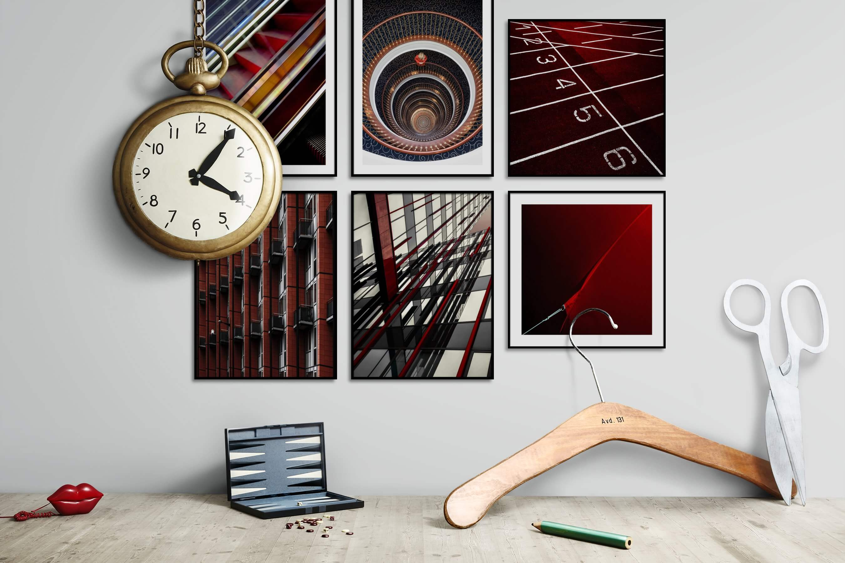 Gallery wall idea with six framed pictures arranged on a wall depicting For the Maximalist, City Life, For the Moderate, and For the Minimalist