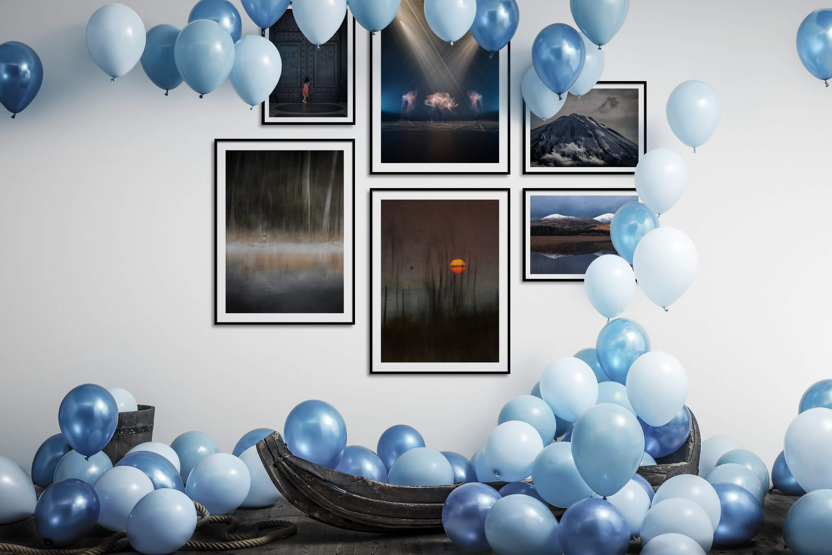 Gallery wall idea with six framed pictures arranged on a wall depicting For the Moderate, Animals, and Nature