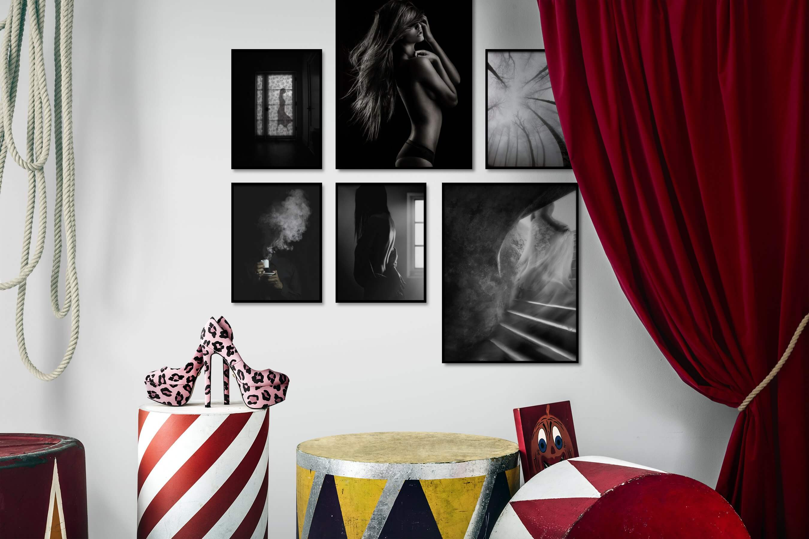 Gallery wall idea with six framed pictures arranged on a wall depicting Fashion & Beauty, Black & White, Dark Tones, For the Minimalist, Artsy, For the Moderate, and Nature