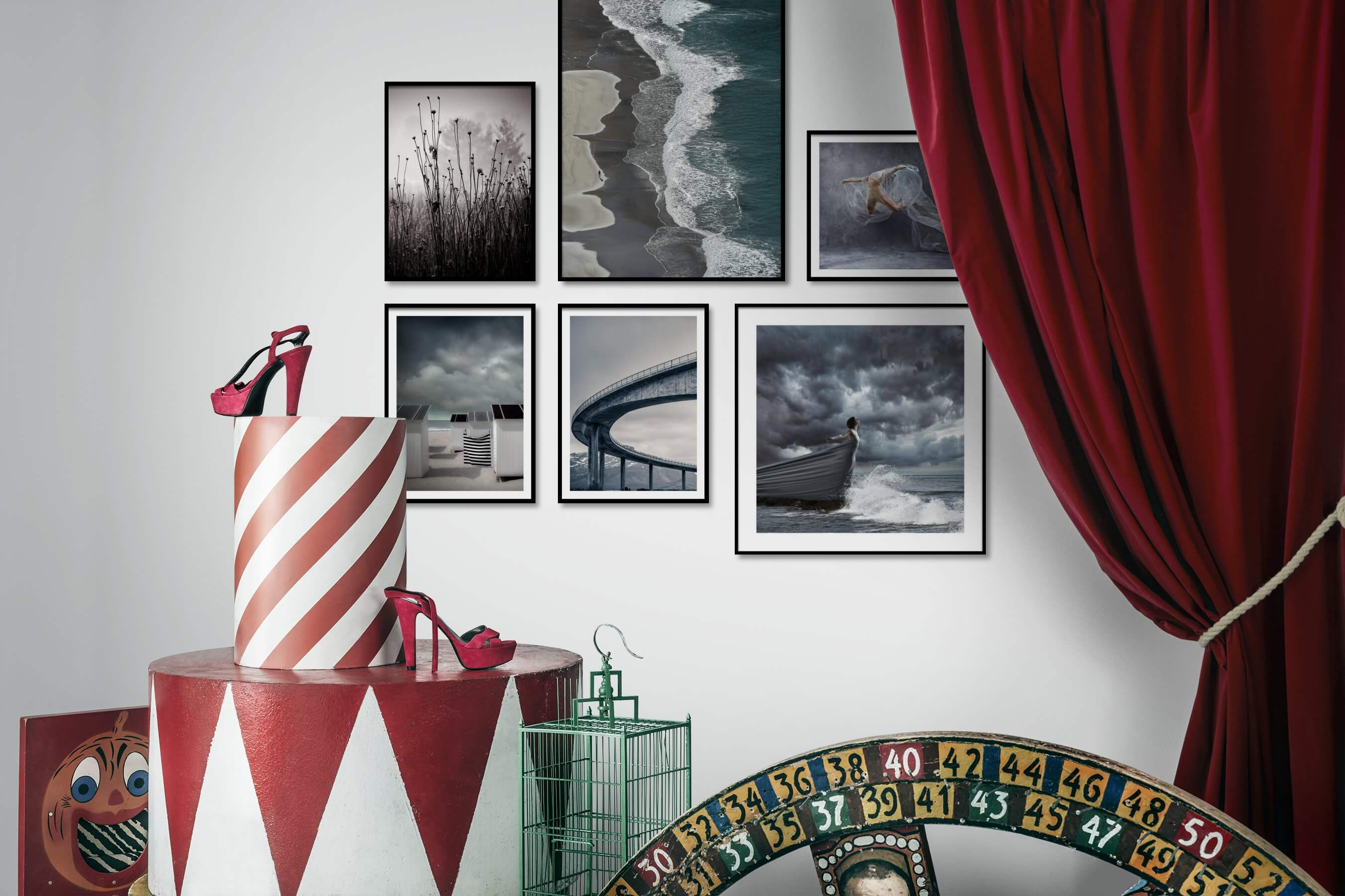 Gallery wall idea with six framed pictures arranged on a wall depicting Black & White, Nature, Flowers & Plants, For the Moderate, Beach & Water, Artsy, and Fashion & Beauty