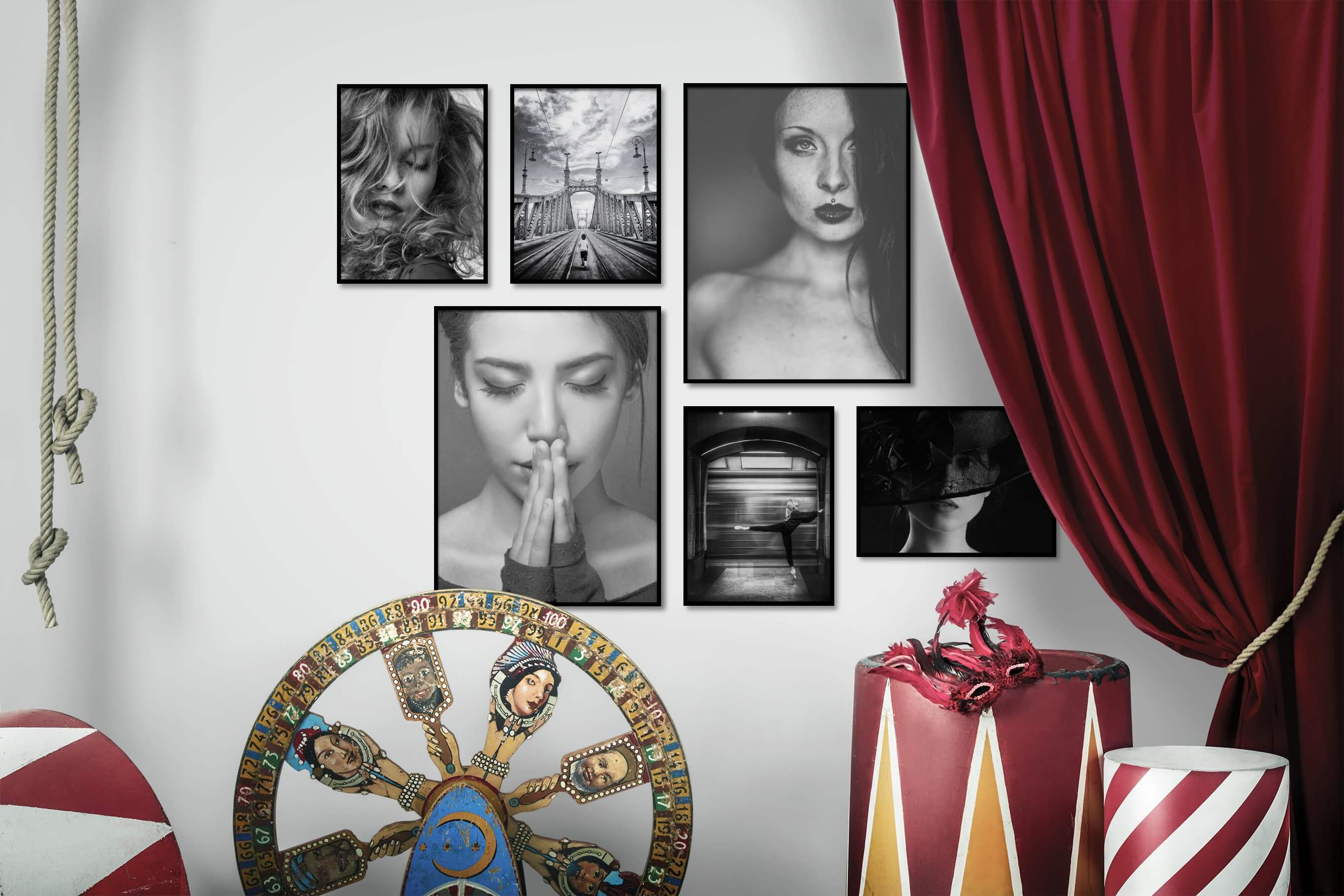 Gallery wall idea with six framed pictures arranged on a wall depicting Fashion & Beauty, Black & White, City Life, Mindfulness, and Dark Tones