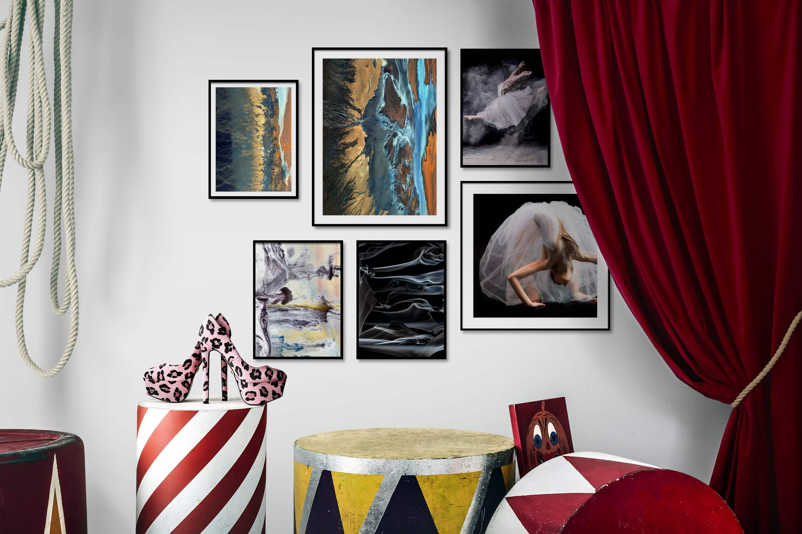 Gallery wall idea with six framed pictures arranged on a wall depicting For the Moderate, Nature, For the Maximalist, and Fashion & Beauty