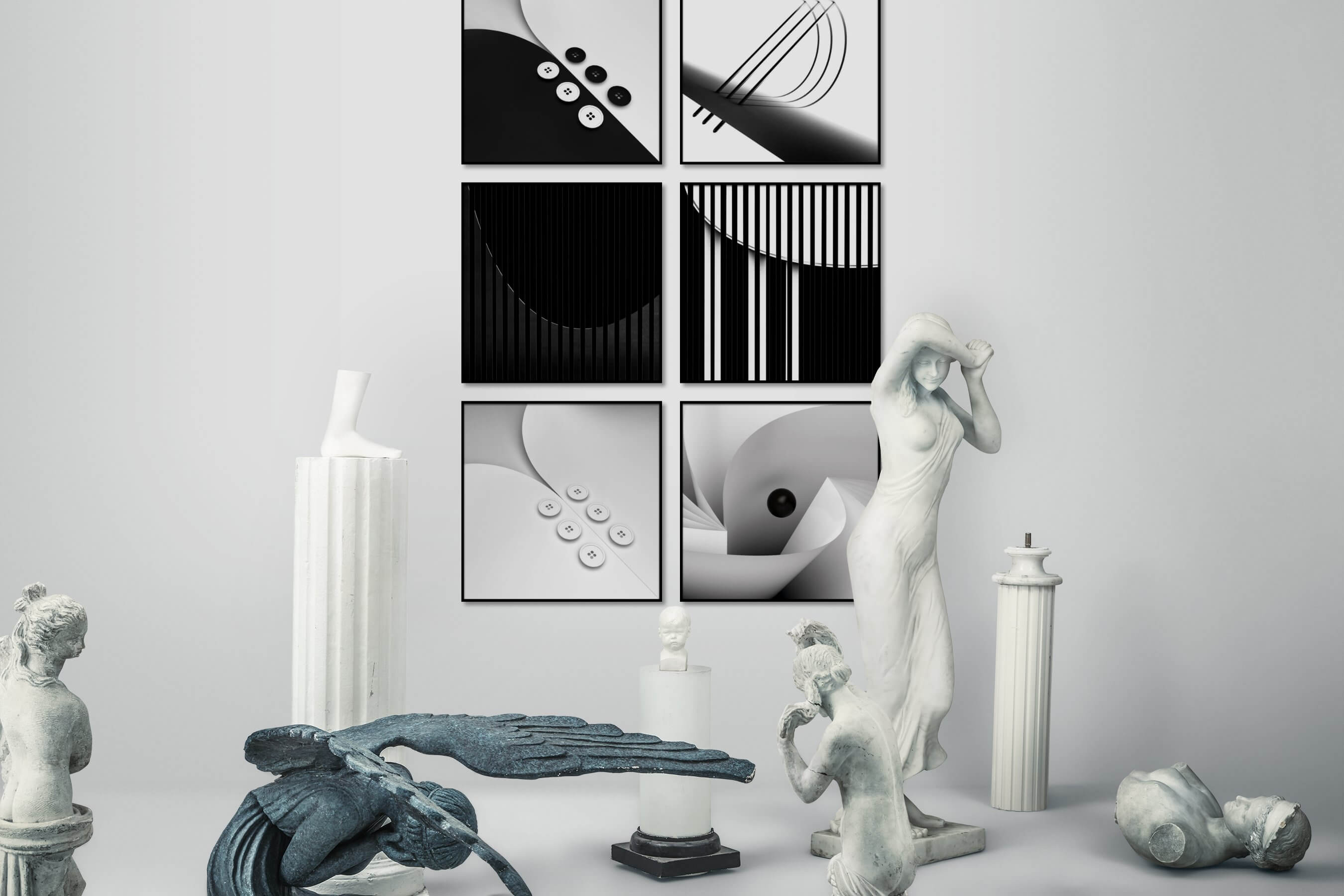 Gallery wall idea with six framed pictures arranged on a wall depicting Black & White, For the Minimalist, Bright Tones, Dark Tones, and For the Moderate