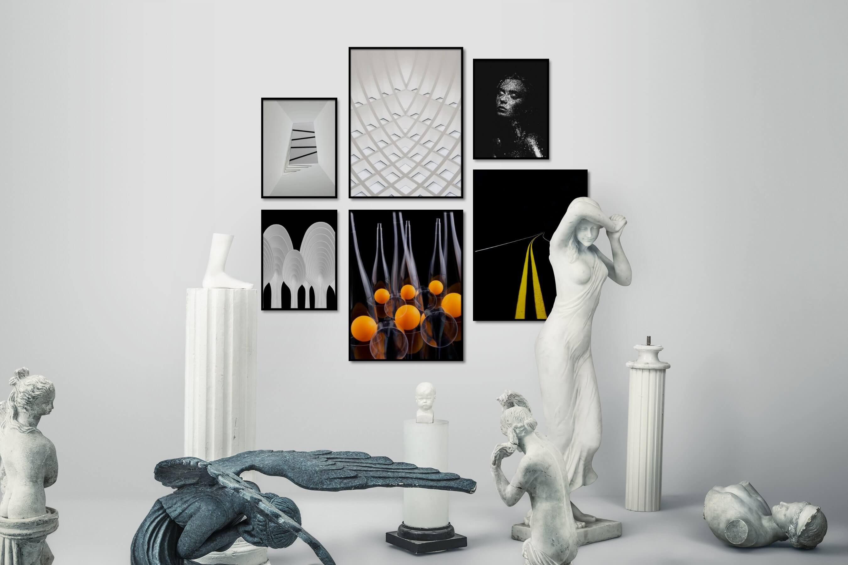 Gallery wall idea with six framed pictures arranged on a wall depicting For the Minimalist, For the Moderate, Black & White, Dark Tones, For the Maximalist, and Fashion & Beauty