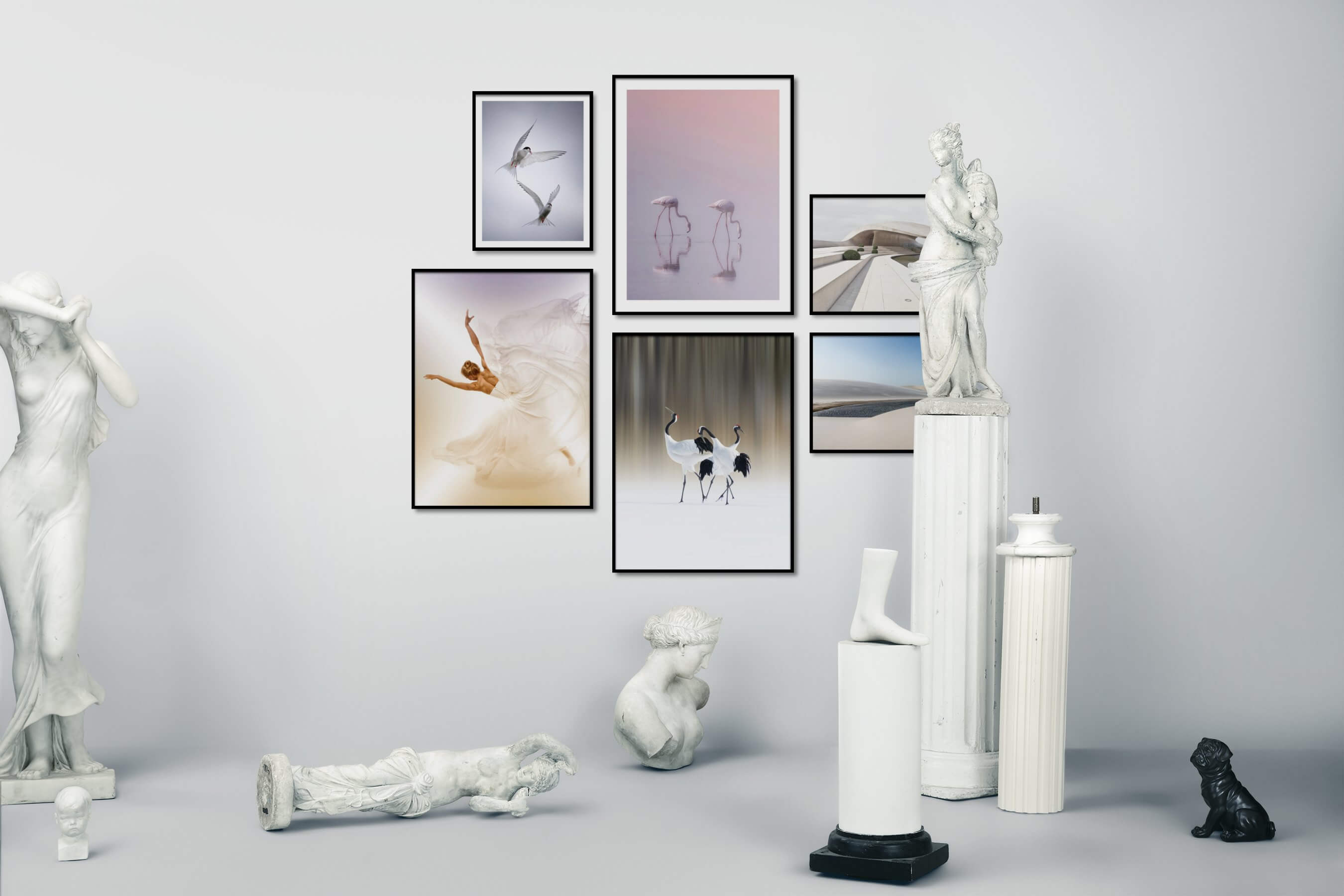 Gallery wall idea with six framed pictures arranged on a wall depicting For the Minimalist, Animals, Fashion & Beauty, For the Moderate, and Nature