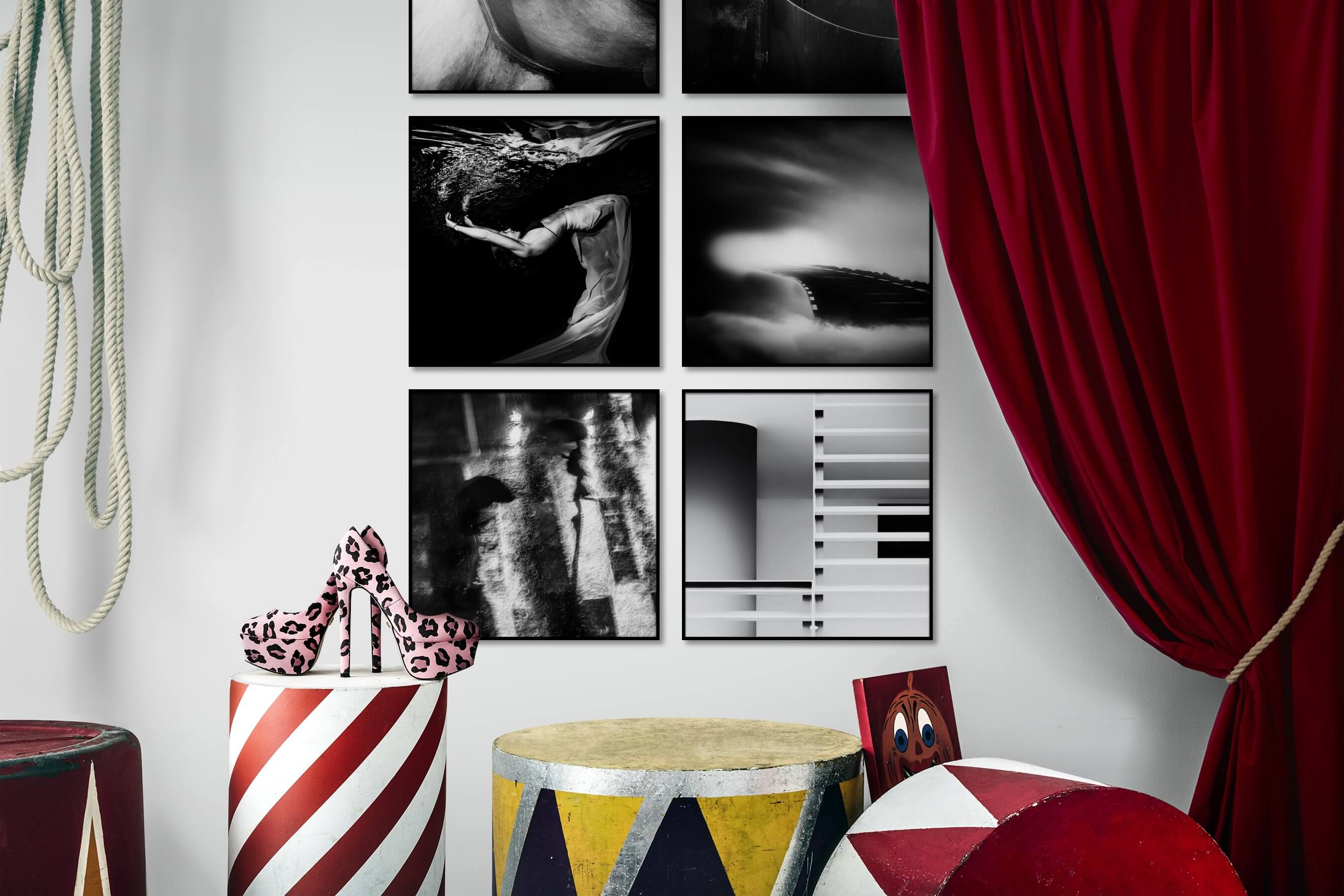 Gallery wall idea with six framed pictures arranged on a wall depicting Artsy, Black & White, For the Moderate, Fashion & Beauty, Dark Tones, Beach & Water, Mindfulness, and City Life