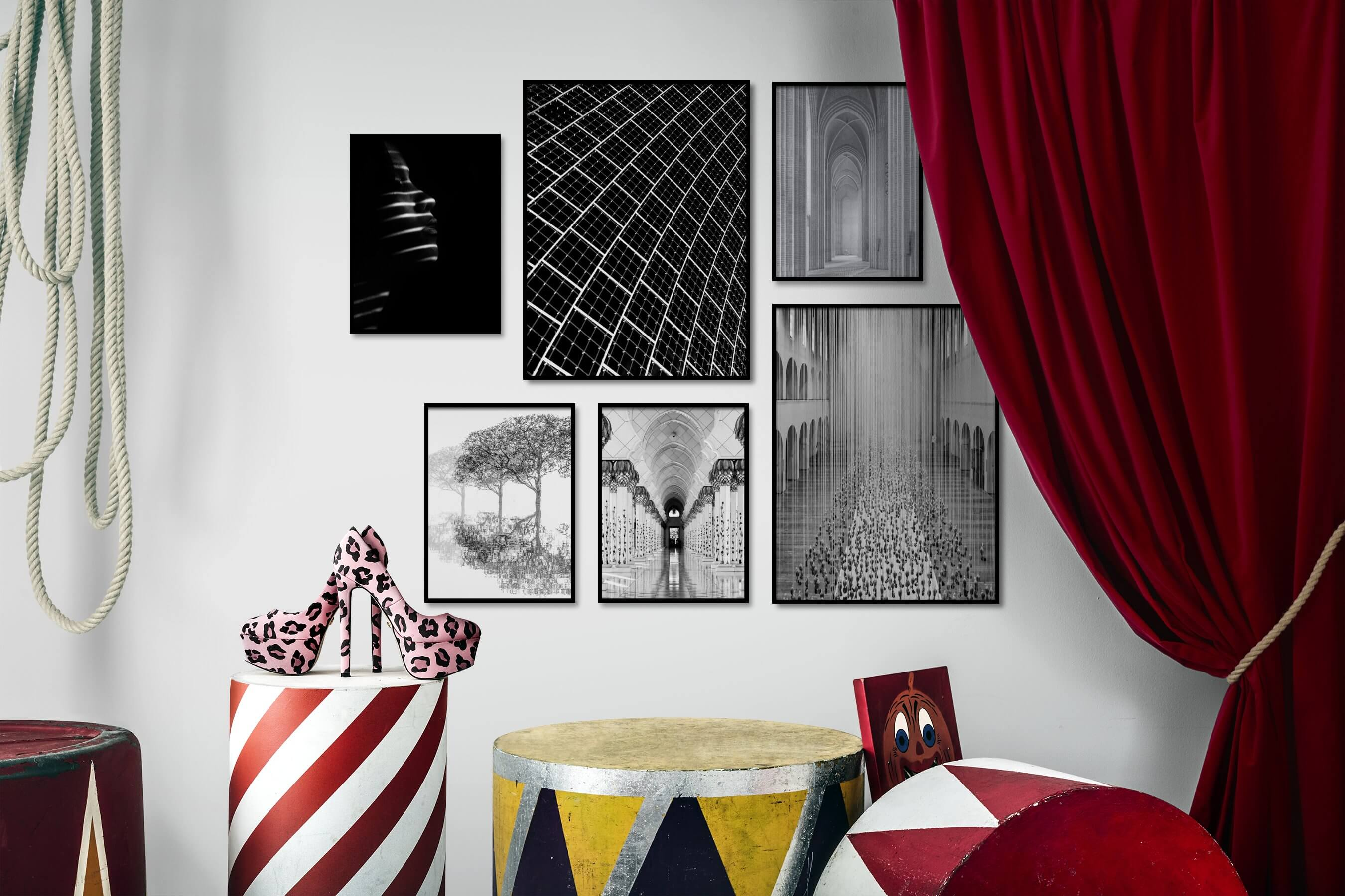 Gallery wall idea with six framed pictures arranged on a wall depicting Fashion & Beauty, Black & White, Dark Tones, For the Minimalist, For the Maximalist, Bright Tones, For the Moderate, Nature, and Mindfulness
