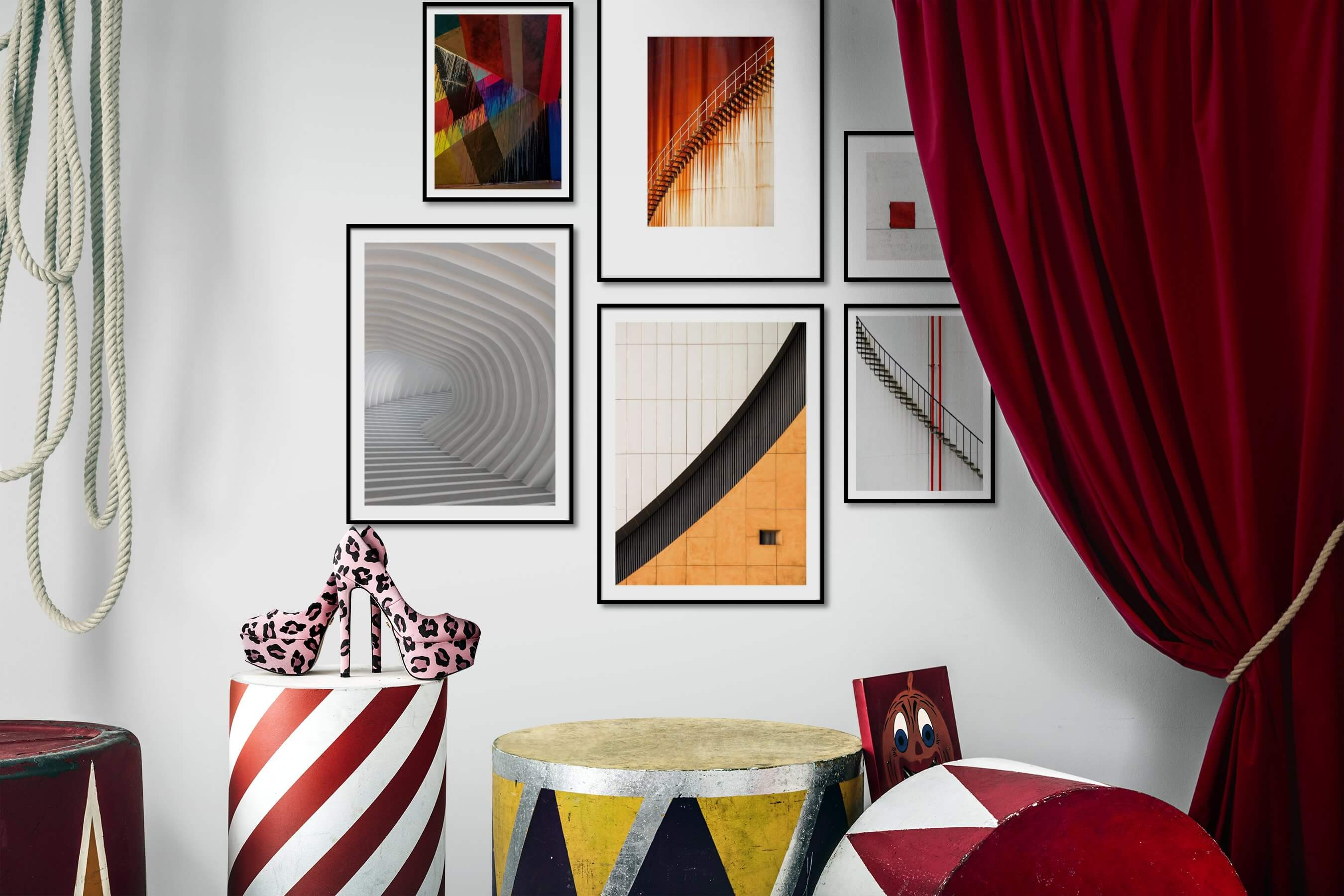 Gallery wall idea with six framed pictures arranged on a wall depicting For the Maximalist, For the Minimalist, and For the Moderate