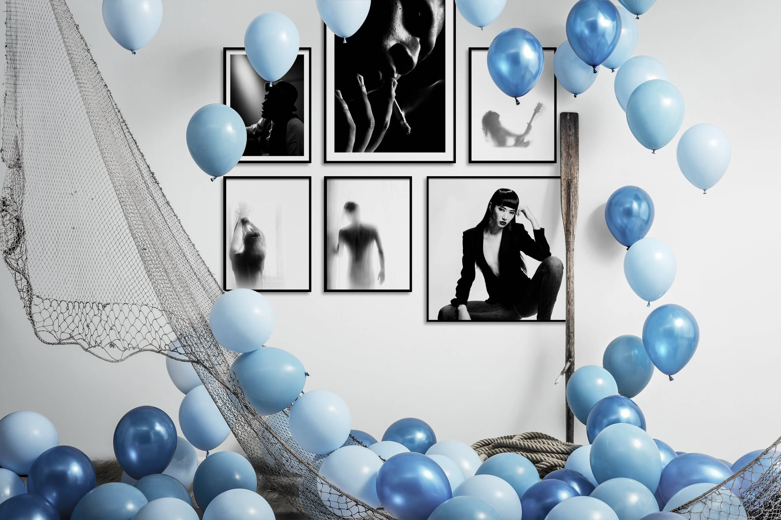 Gallery wall idea with six framed pictures arranged on a wall depicting Fashion & Beauty, Black & White, For the Moderate, Bright Tones, and For the Minimalist