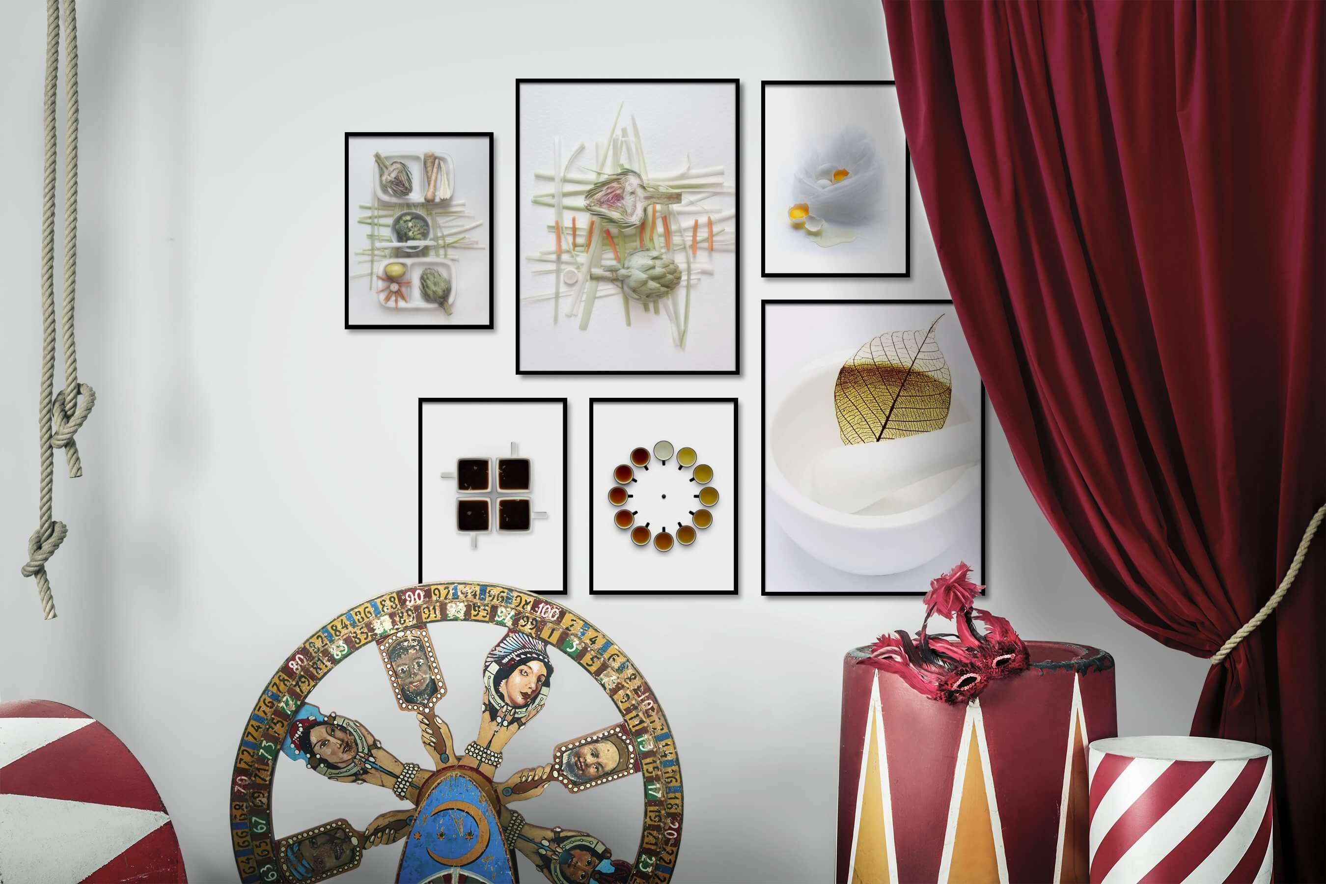 Gallery wall idea with six framed pictures arranged on a wall depicting Bright Tones, For the Moderate, Flowers & Plants, and For the Minimalist
