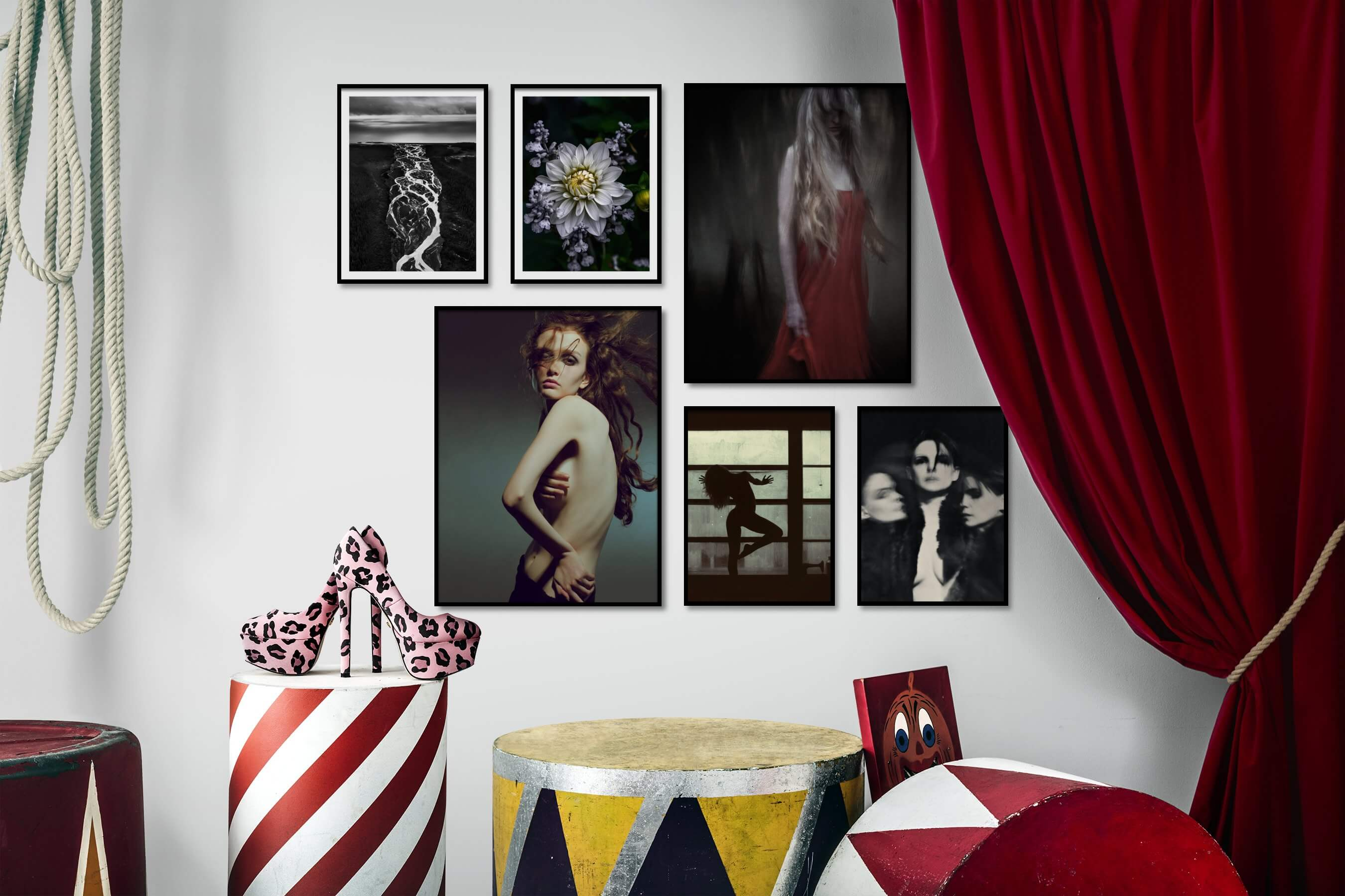 Gallery wall idea with six framed pictures arranged on a wall depicting Black & White, Nature, Flowers & Plants, Fashion & Beauty, For the Moderate, and Artsy