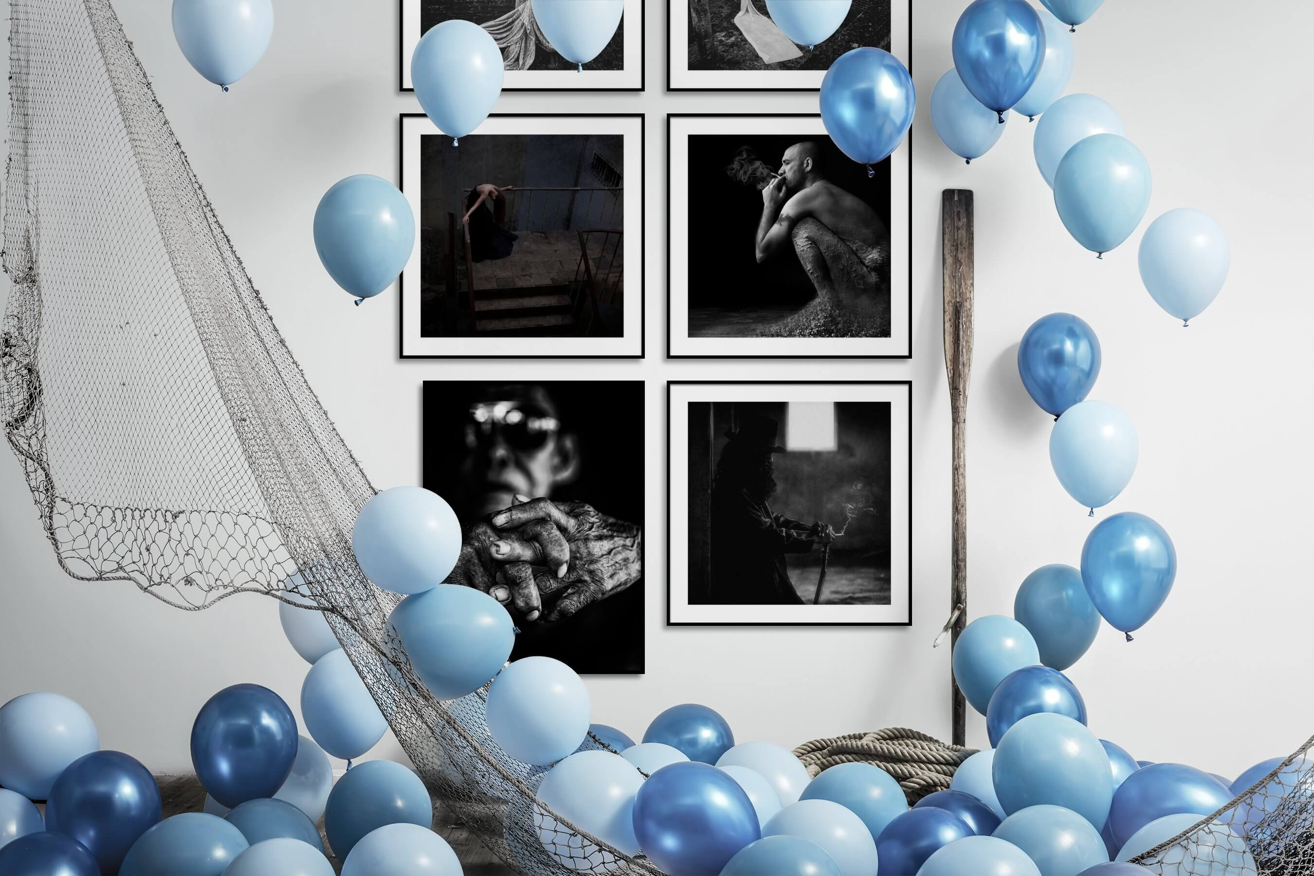 Gallery wall idea with six framed pictures arranged on a wall depicting Artsy, Black & White, Dark Tones, For the Moderate, Fashion & Beauty, and Vintage