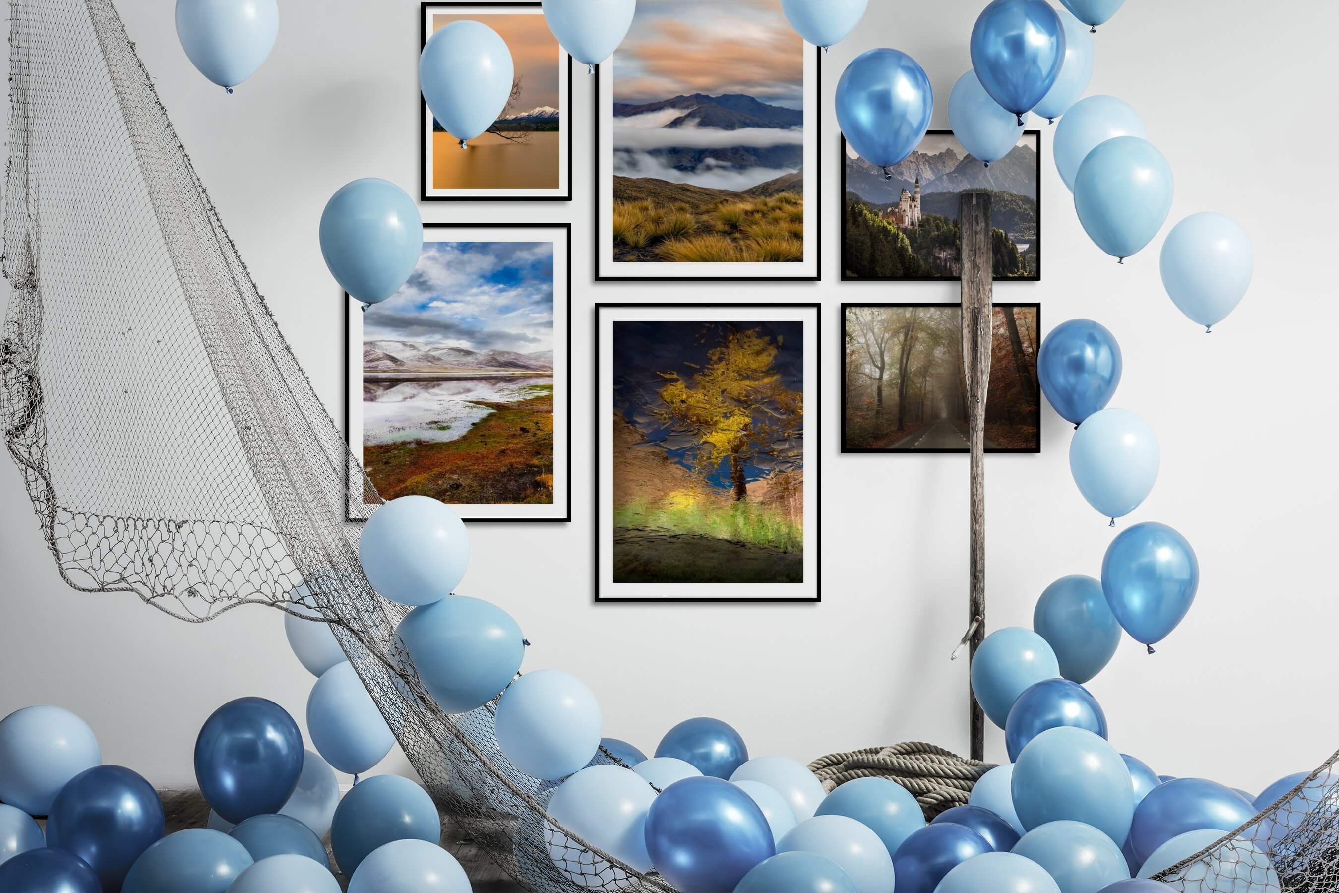 Gallery wall idea with six framed pictures arranged on a wall depicting Nature and Mindfulness